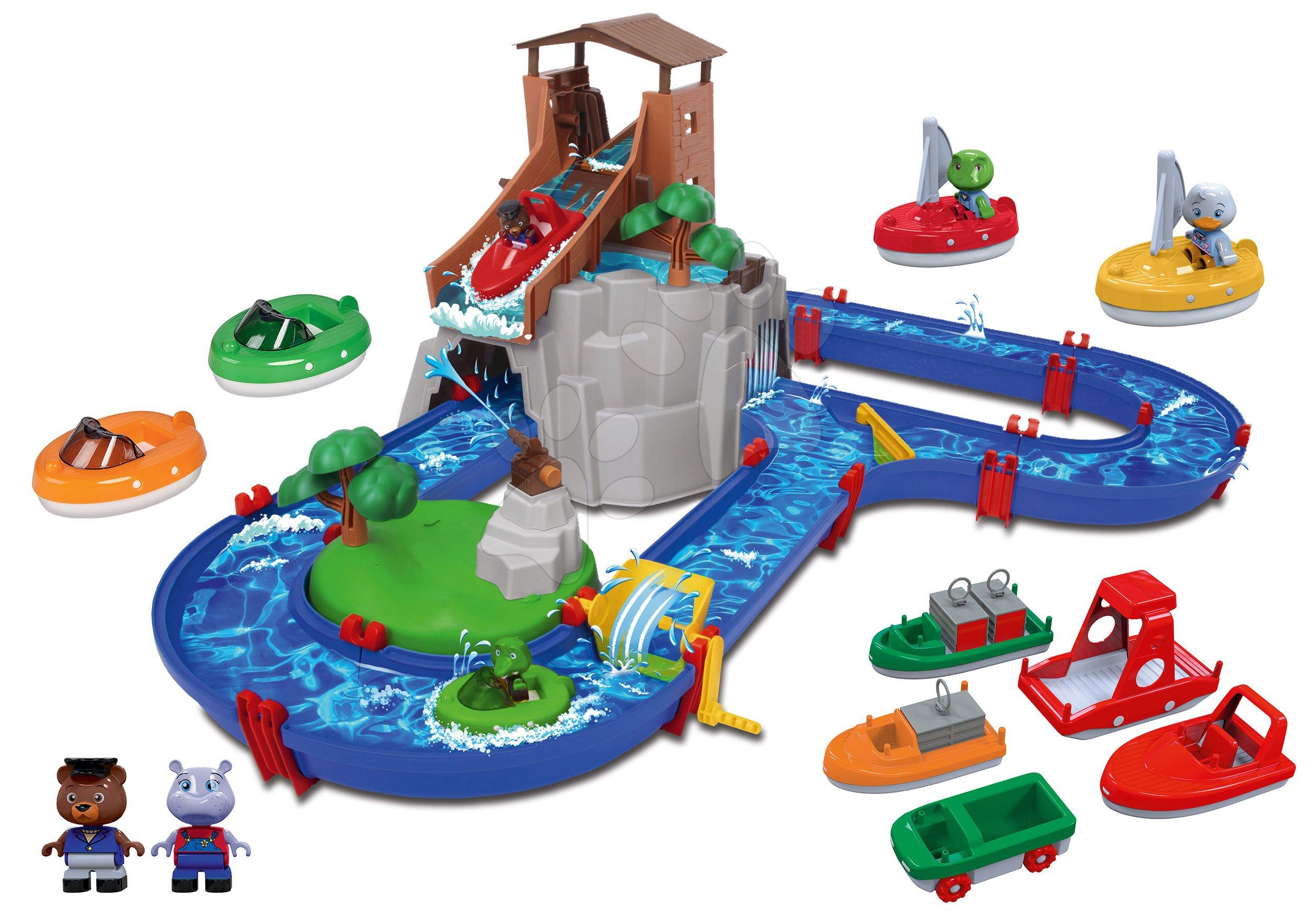 Set vodní dráha Adventure Land AquaPlay dobrodružství pod vodopádem s plachetnicemi a loďkami