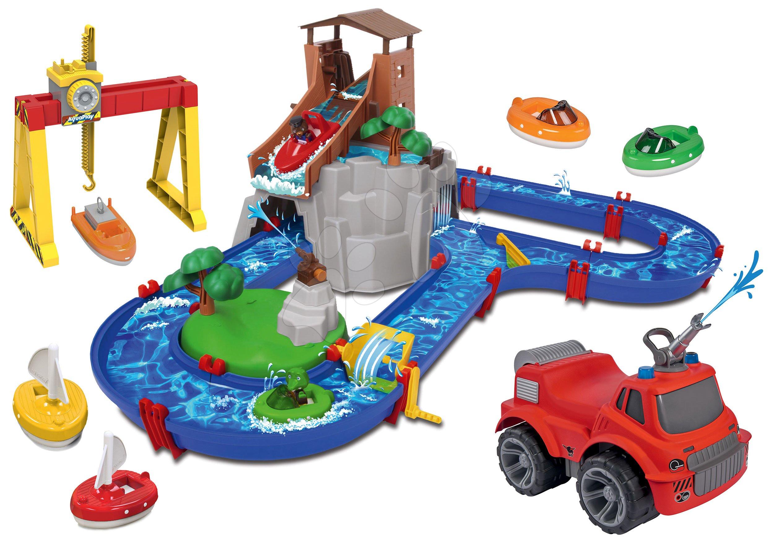 Set vodná dráha Adventure Land AquaPlay dobrodružstvo pod vodopádom striekajúce odrážadlo a kontajnerový žeriav s loďkami