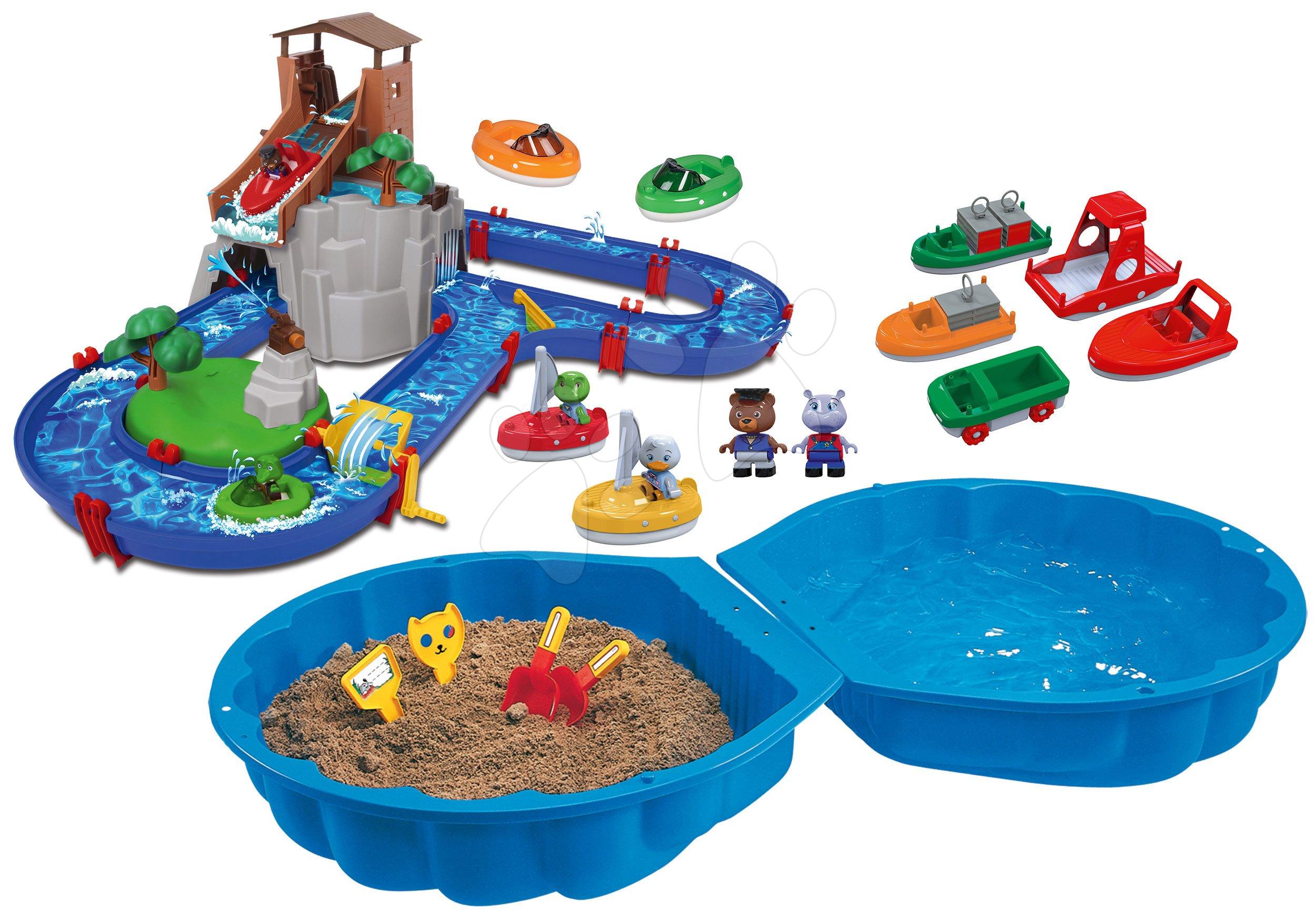 Set vodná dráha Adventure Land AquaPlay dobrodružstvo pod vodopádom s pieskoviskom a loďkami