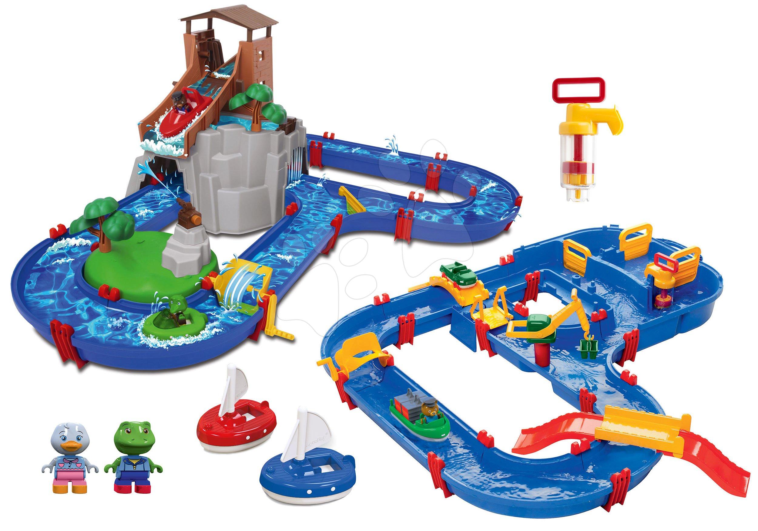 Set vodná dráha Adventure Land AquaPlay dobrodružstvo pod vodopádom a MegaBridge s vodnou priehradou a mosty s pumpami