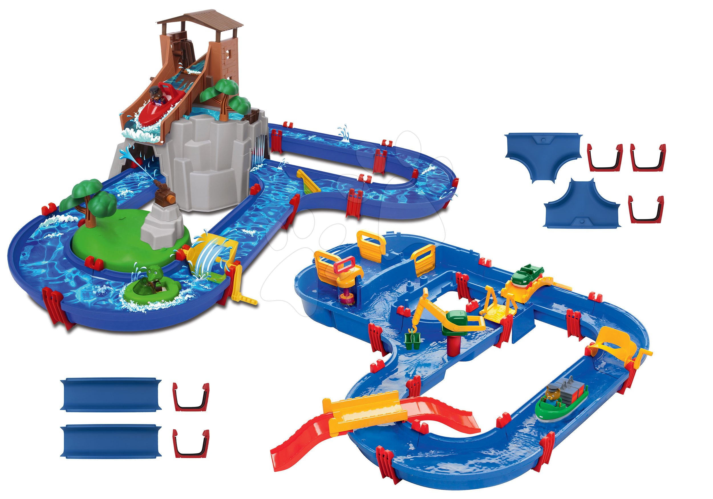 Set vodní dráha Adventure Land AquaPlay dobrodružství pod vodopádem a MegaBridge s vodní přehradou a náhradní díly