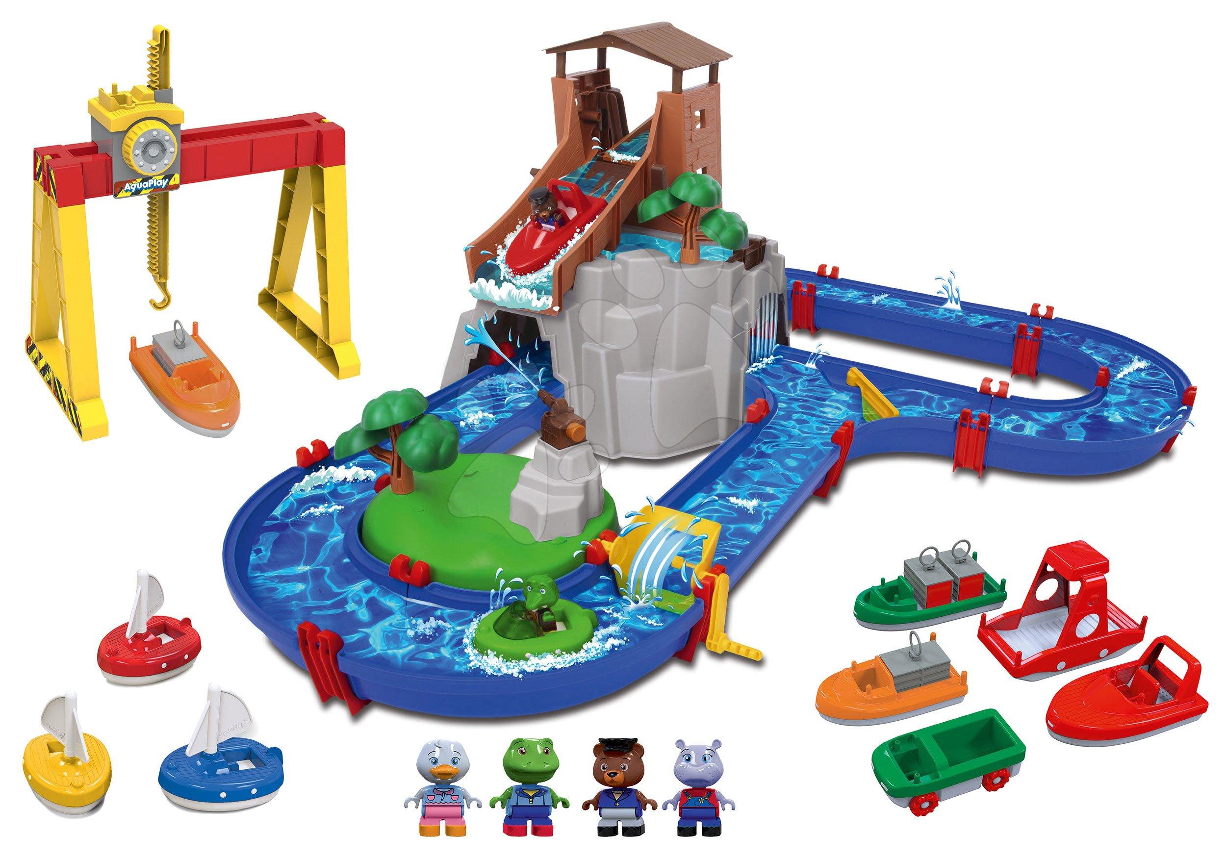Set vodní dráha Adventure Land AquaPlay dobrodružství pod vodopádem a jeřáb s loďkami a plachetnice