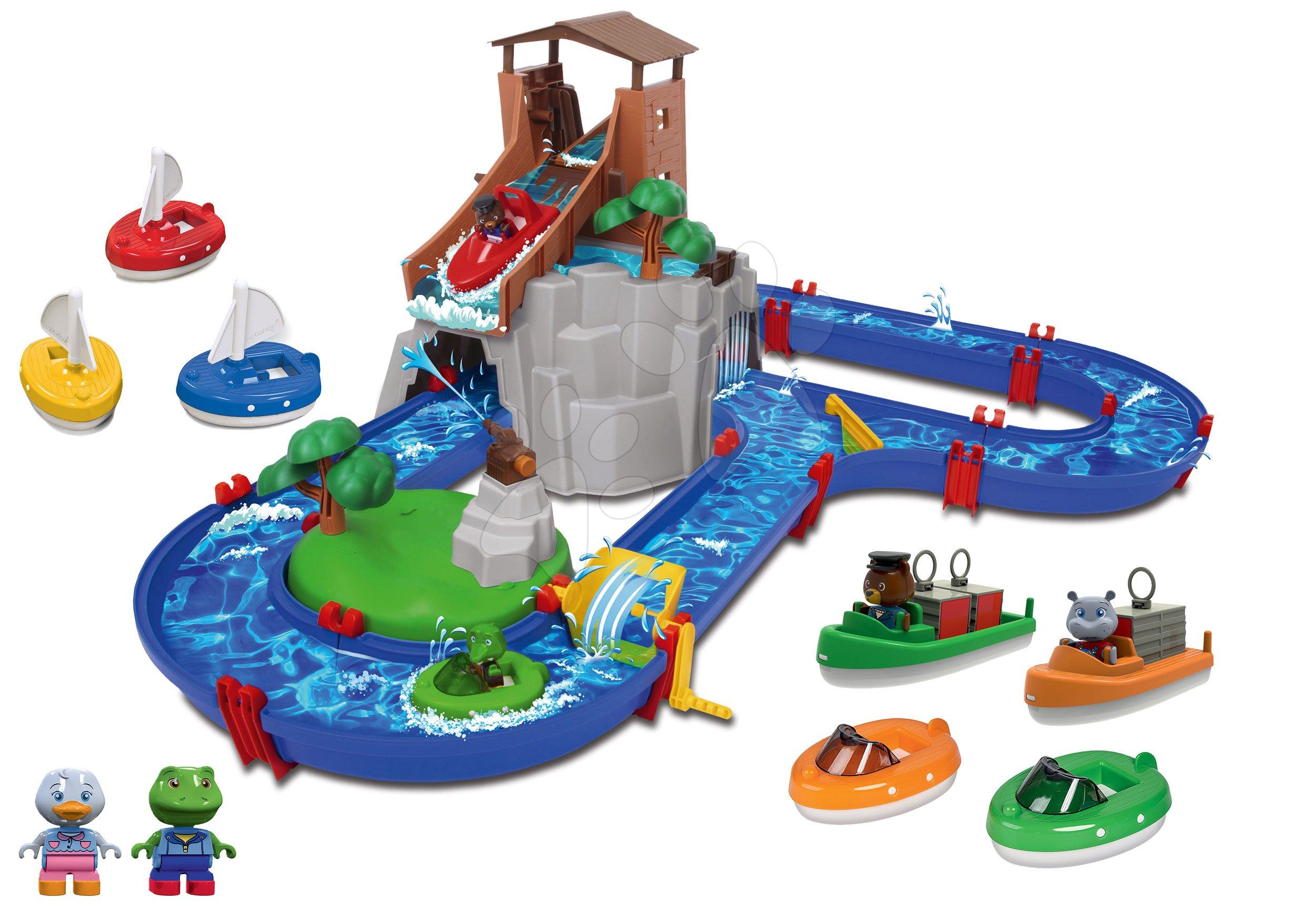 Set vodná dráha Adventure Land AquaPlay dobrodružstvo pod vodopádom a člny a plachetnice