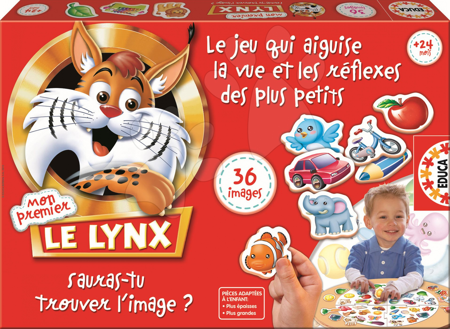 Cudzojazyčné spoločenské hry - Spoločenská hra pre najmenších Le Lynx Mon Premier Educa 36 obrázkov vo francúzštine od 24 mes