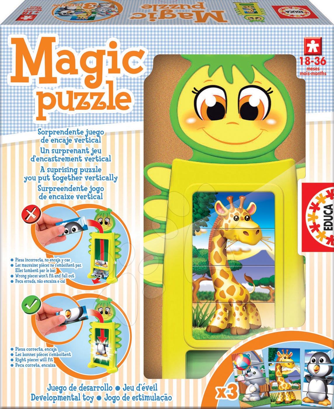 Puzzle pre najmenších - Skladačka Baby Tower Puzzle Educa s kockami od 18 mes