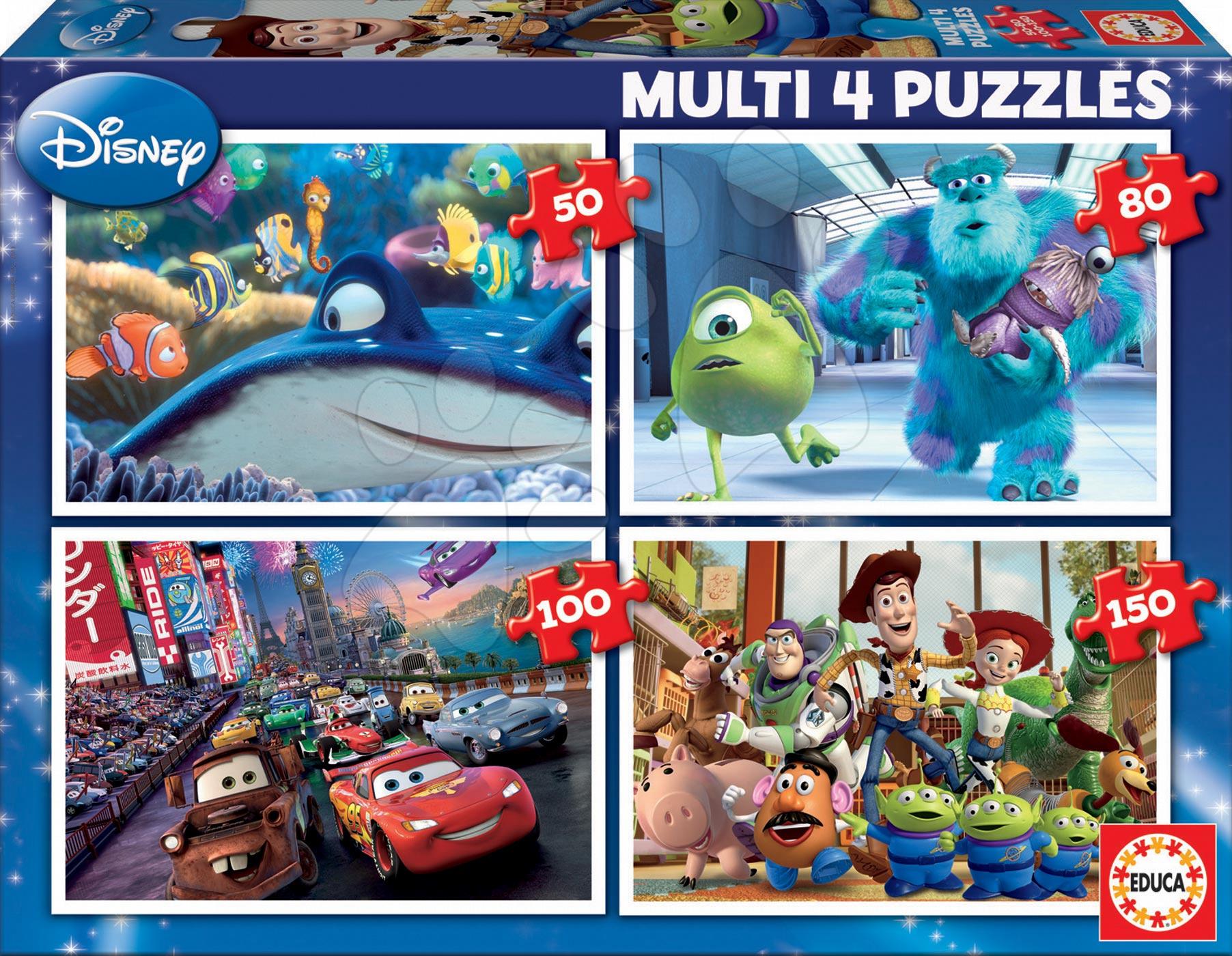 Progresívne detské puzzle - Puzzle Pixar Educa 150-100-80-50 dielov od 5 rokov