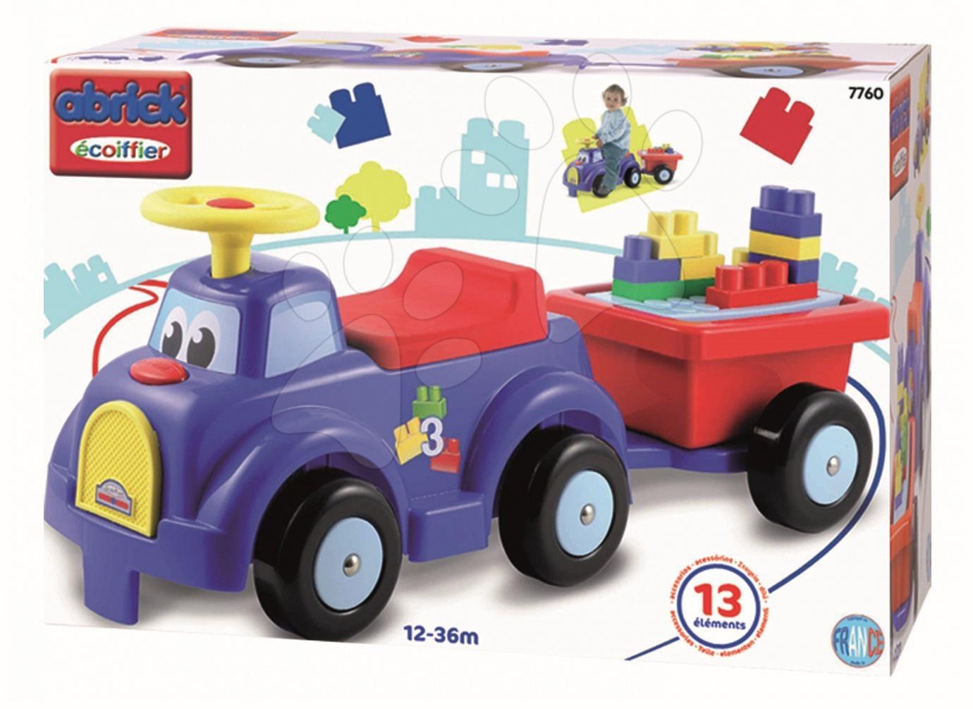 Odrážadlo Maxi Abrick Écoiffier kamión s prívesom a 13 kociek fialové od 12 mes