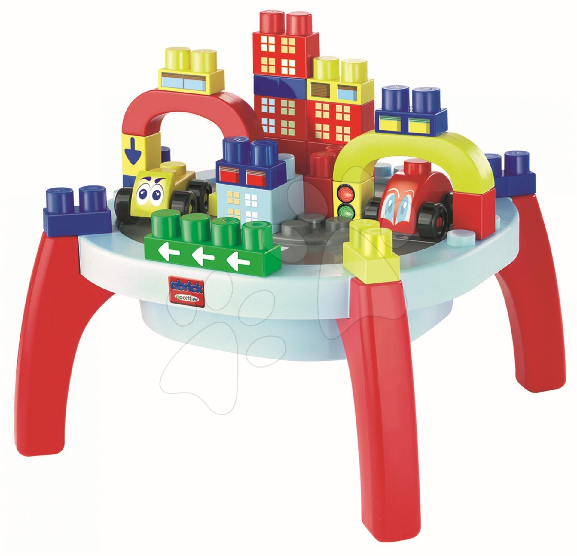 Stavebnice pre najmenších - Stôl Abrick Maxi Écoiffier s kockami a autíčkami 37 dielov + 24 dielov bonus od 12 mes