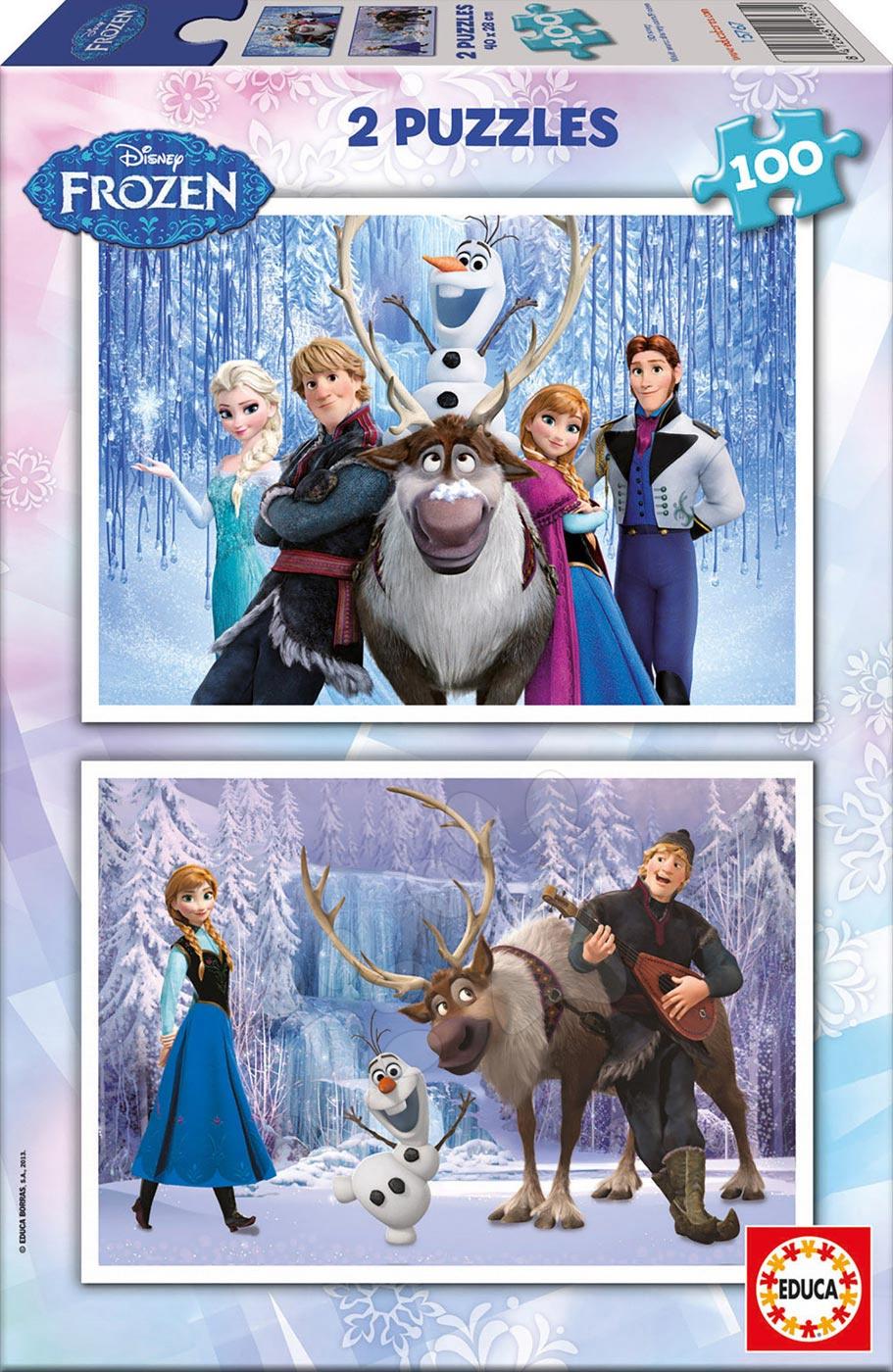Detské puzzle od 100-300 dielov - Puzzle Frozen - Ľadové kráľovstvo Educa 2x100 dielov od 5 rokov