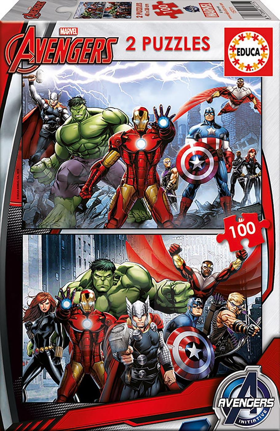 Dječje puzzle od 100 do 300 dijelova - Dječje puzzle Avengers Educa 2x100 dijelova od 5 godina