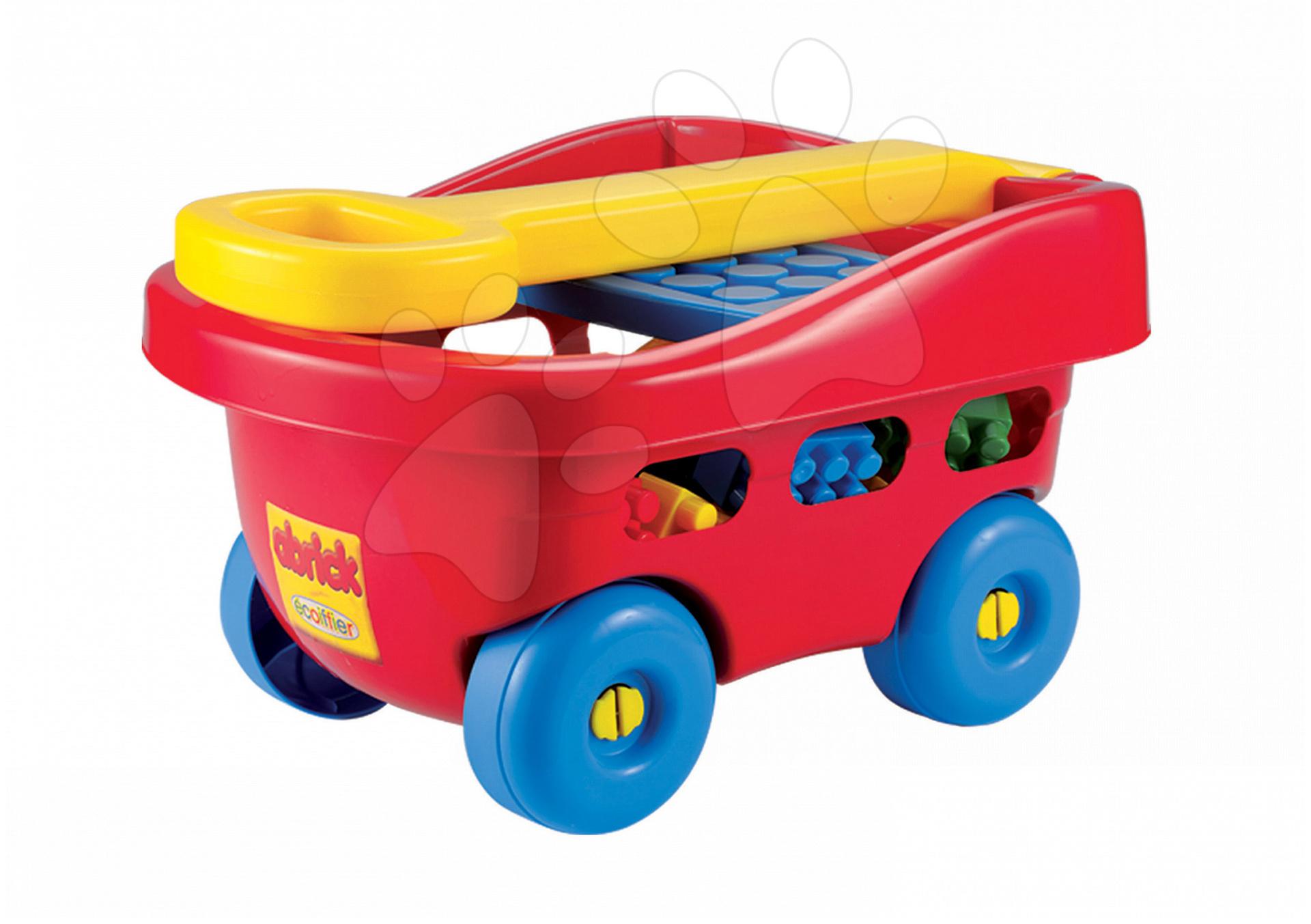 Baba építőjáték és kockák - Kiskocsi építőjátékkal Abrick Écoiffier 60 darabos 12 hó-tól