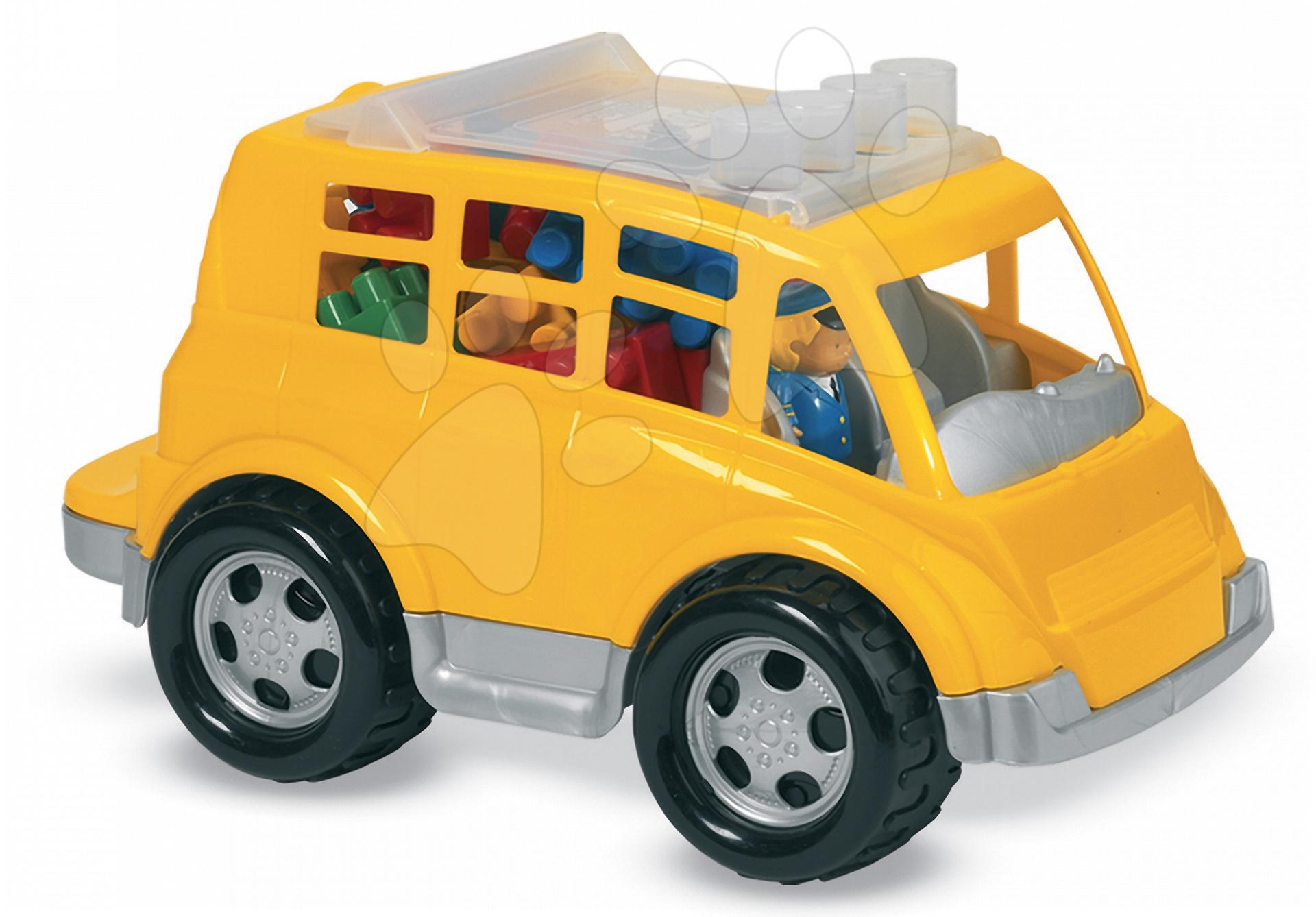 Építőjáték Abrick – kockák és autóbusz Écoiffier sárga 18 hó-tól