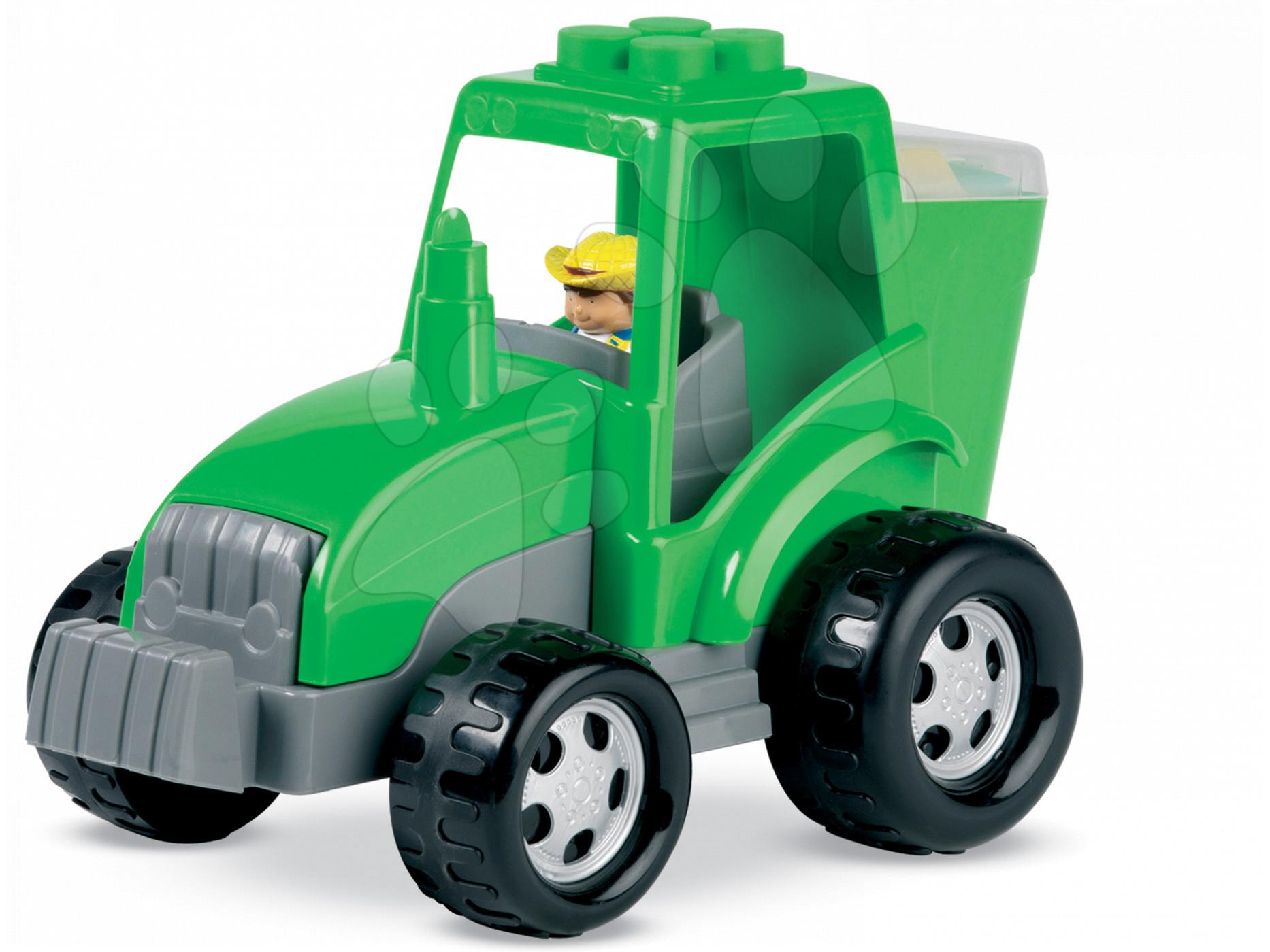 Joc de construit Abrick - tractor cu cuburi Écoiffier verde/roşu de la 18 luni