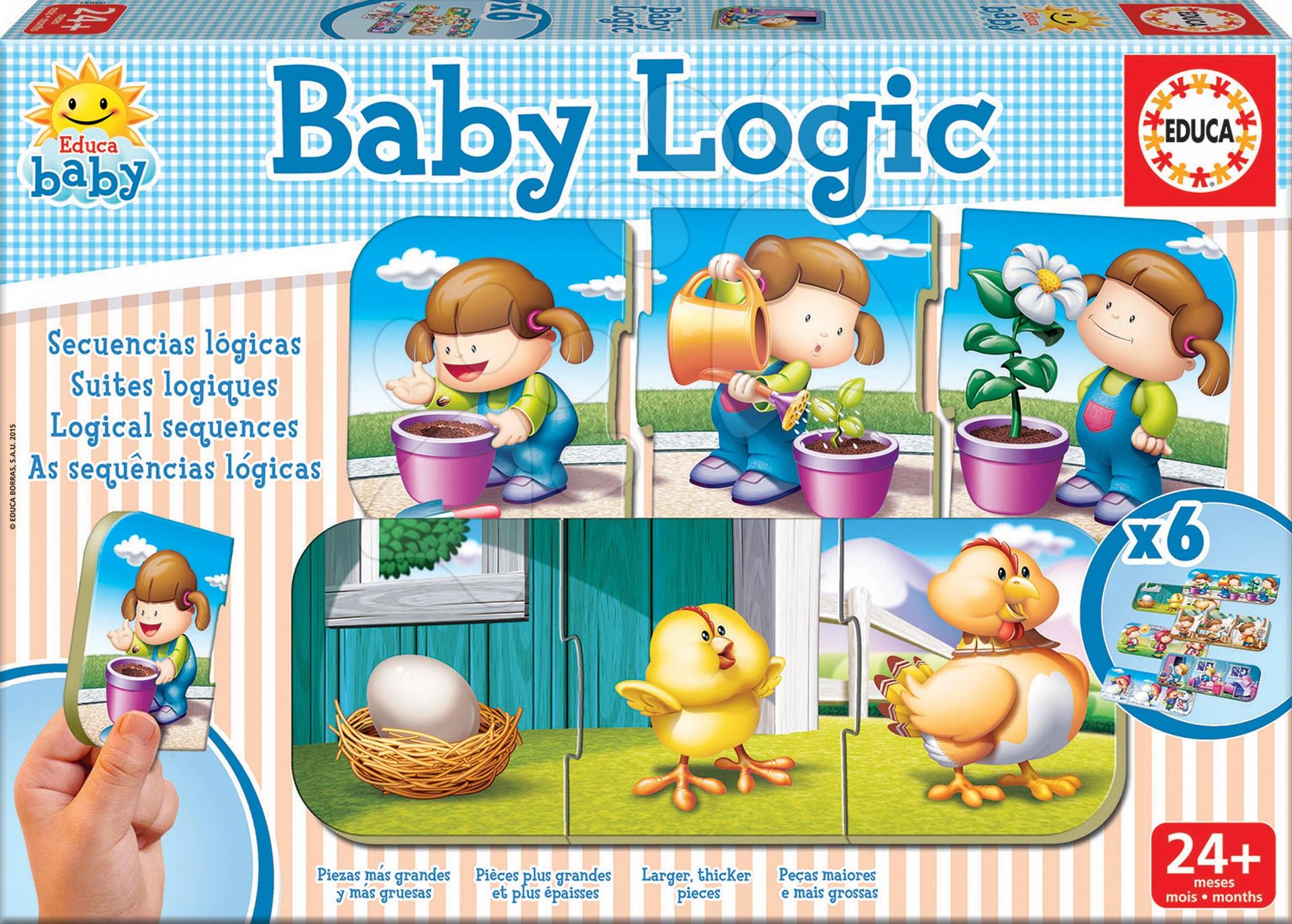 Puzzle Baby Logic Educa 6x3 dílky 6obrázkové od 24 měsíců
