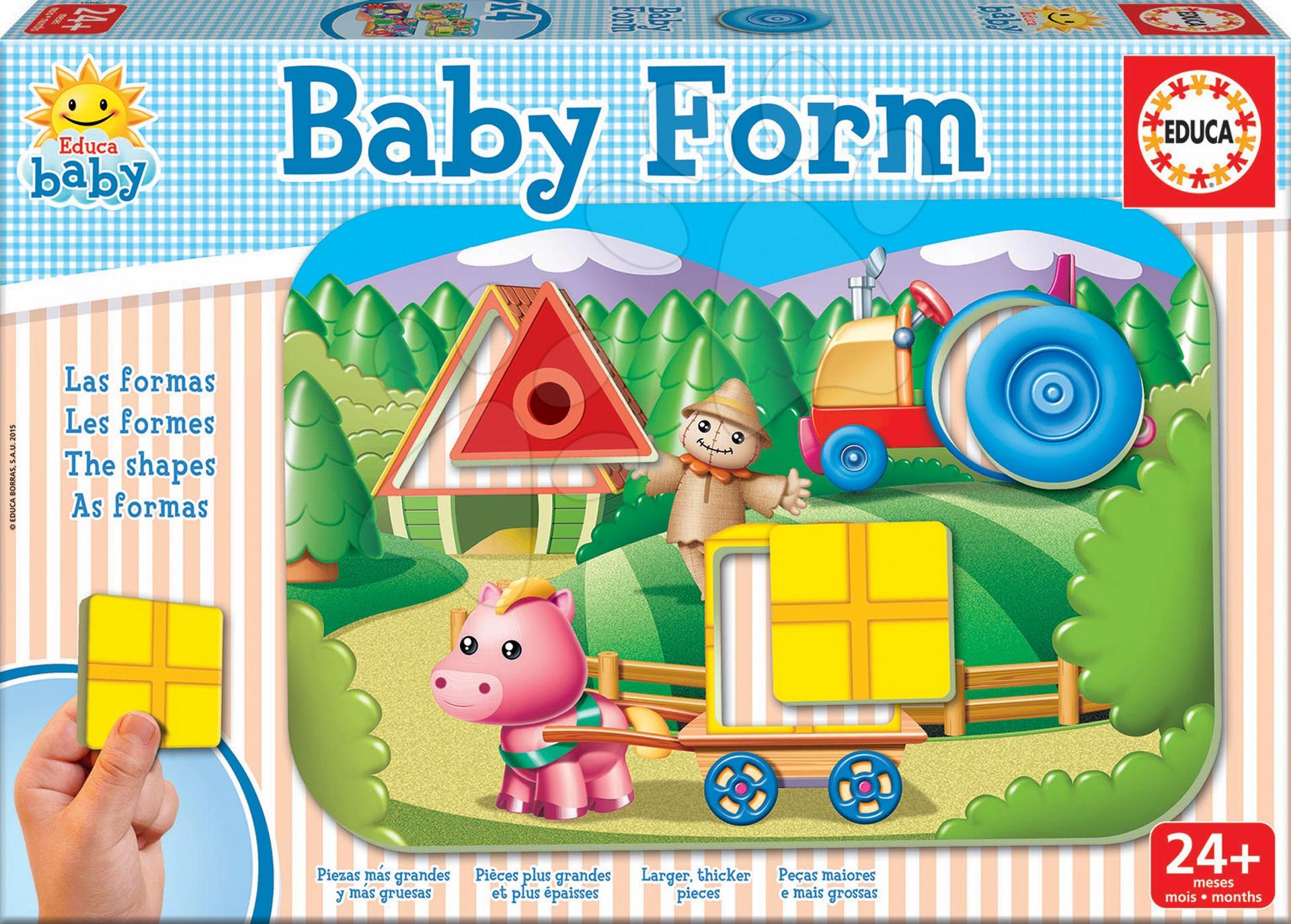 Puzzle pre najmenších - Puzzle Baby Form Tvary Educa 4-obrázkové od 24 mes
