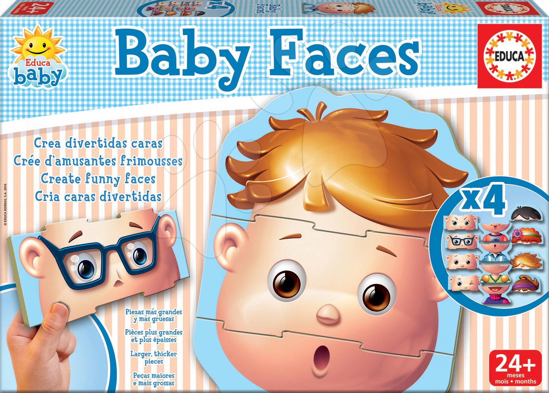 Puzzle Baby Faces Educa 4x3 dílky 4obrázkové od 24 měsíců