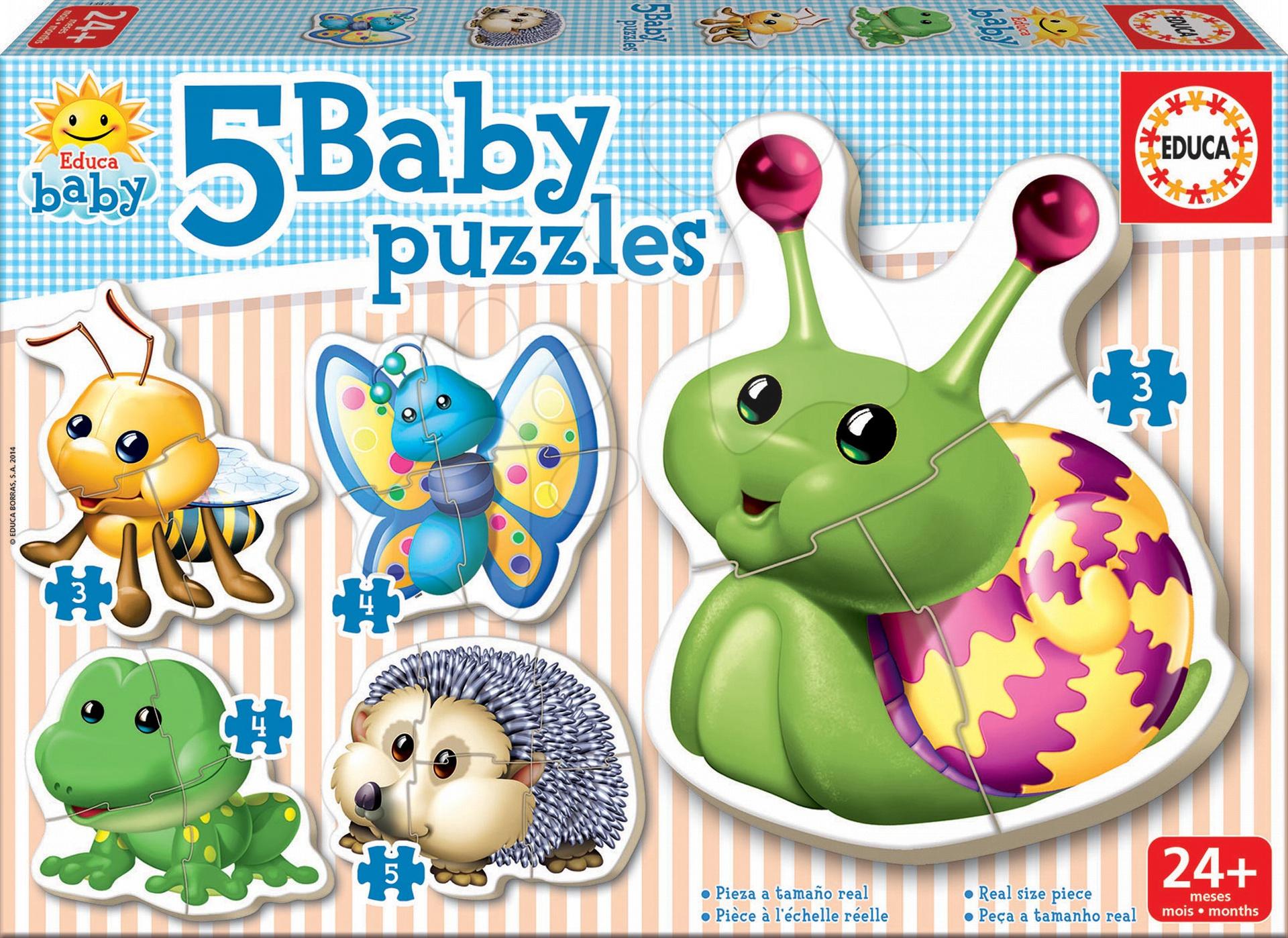 Puzzle pre najmenších - Baby puzzle Mini zvieratká Educa 5-obrázkové od 24 mes