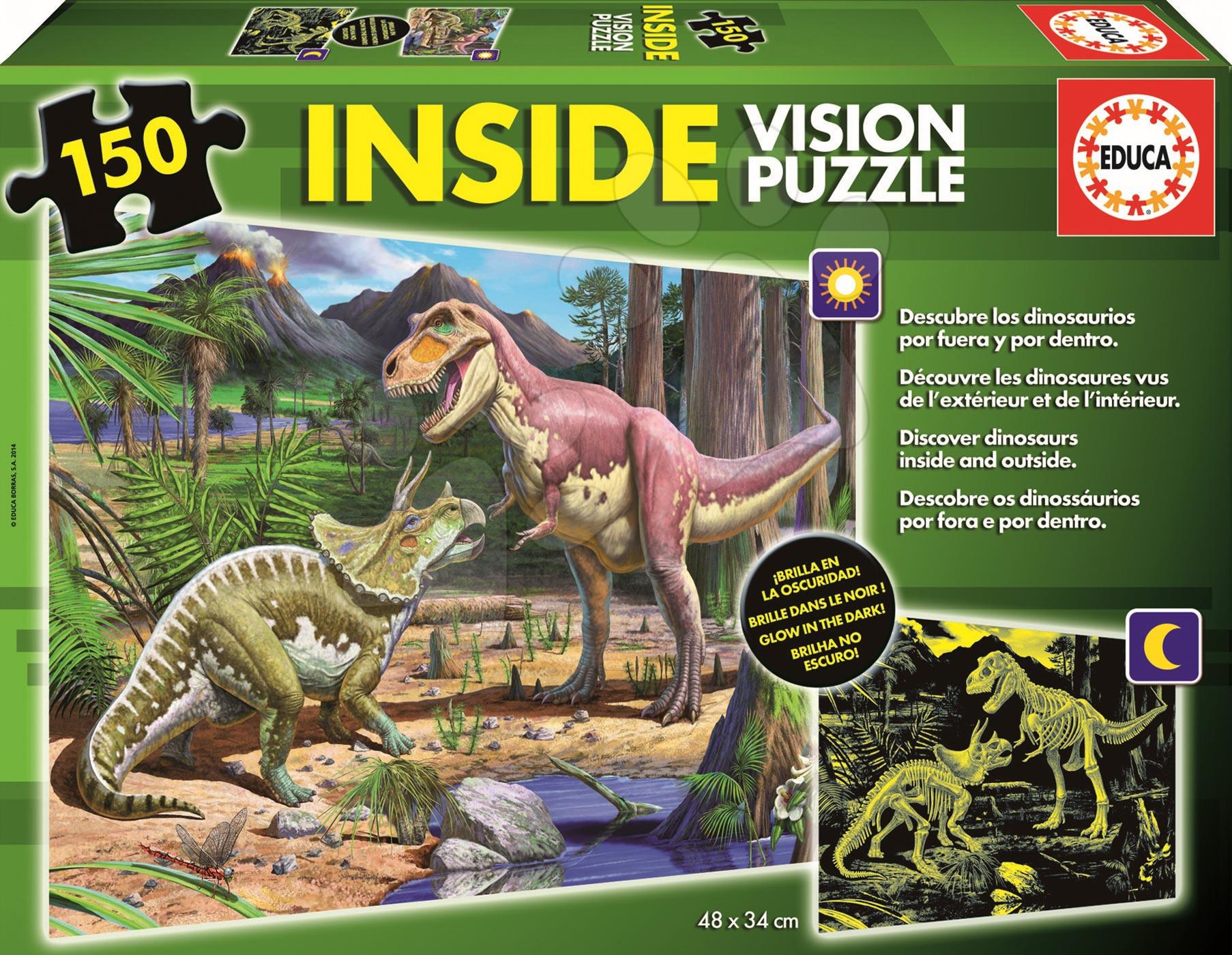Detské puzzle od 100-300 dielov - Puzzle Dinosaury Educa fosforeskujúce 150 dielov od 6 rokov
