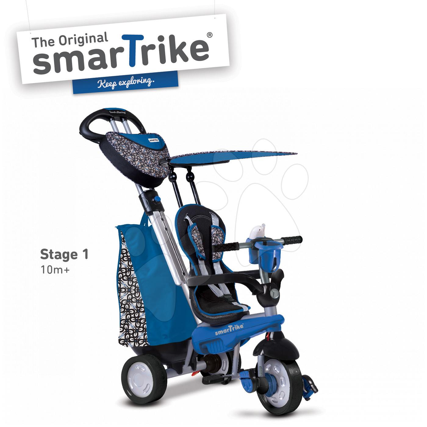 Trojkolky od 10 mesiacov - Trojkolka Dream Legend Touch Steering 4v1 smarTrike s 2 taškami modro-čierna od 10 mes