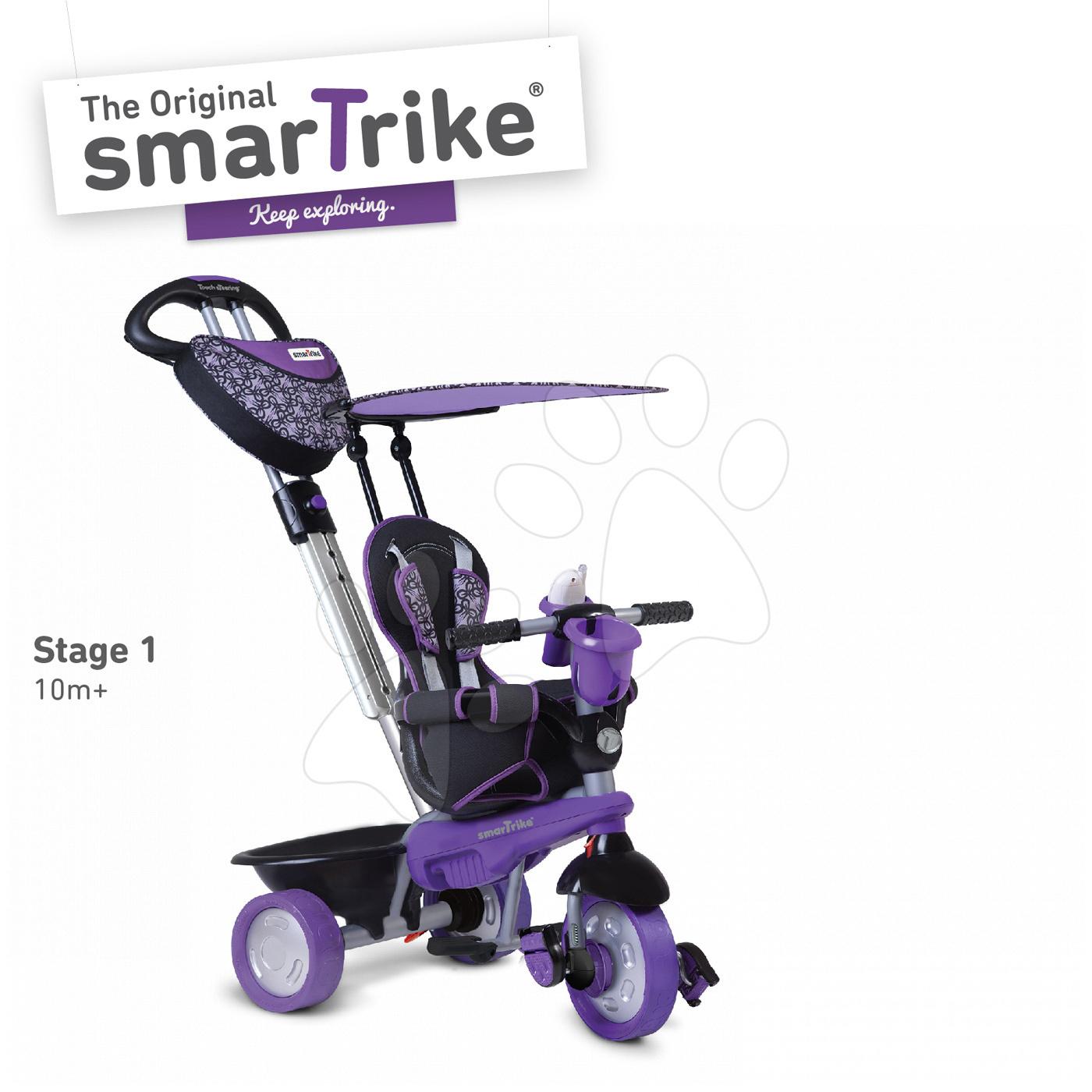 Trojkolka Dream Team Purple&Black Touch Steering 4v1 smarTrike s tlmičom fialovo-čierna od 10 mes