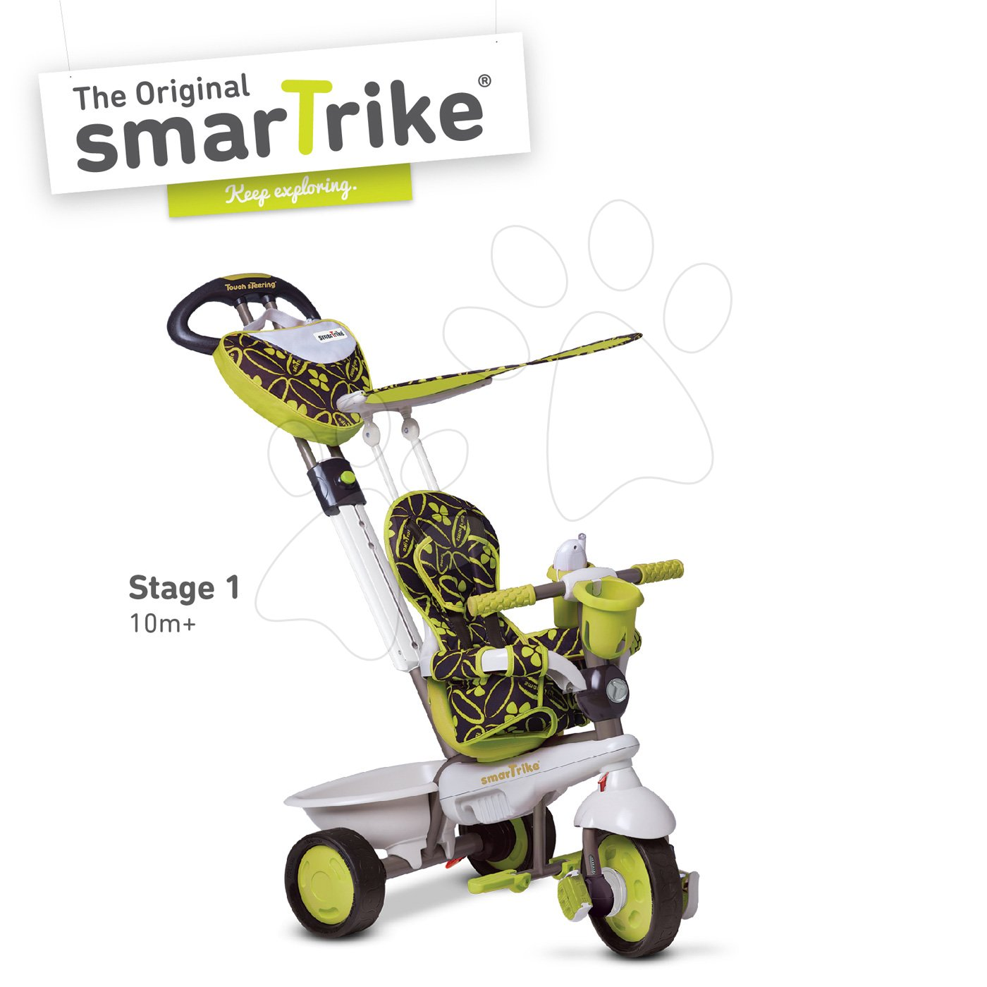 Tricicletă Dream Team Green Touch Steering 4in1 smarTrike verde-gri de la 10 luni