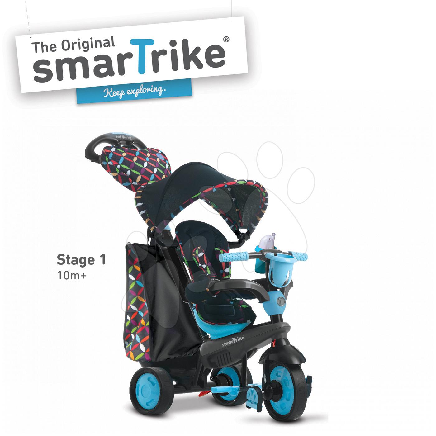 Trojkolka Boutique Blue Touch Steering 4v1 smarTrike s tlmičom modro-čierna od 10 mes