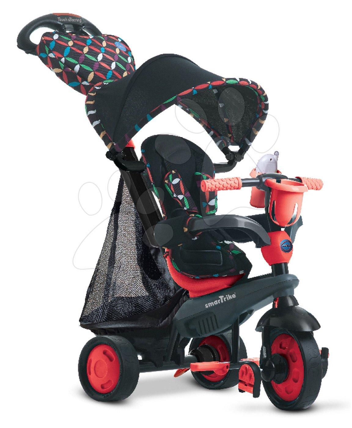 Tricikel Boutique Red Touch Steering 4v1 smarTrike s blažilcem tresljajev in 2 torbama rdeče-črn od 10 meseca