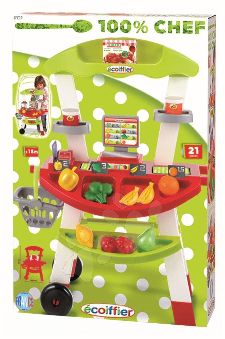 Obchody pre deti - Zeleninový stánok 100% Chef Écoiffier s košíkom, váhou, zeleninou a 21 doplnkami od 18 mes