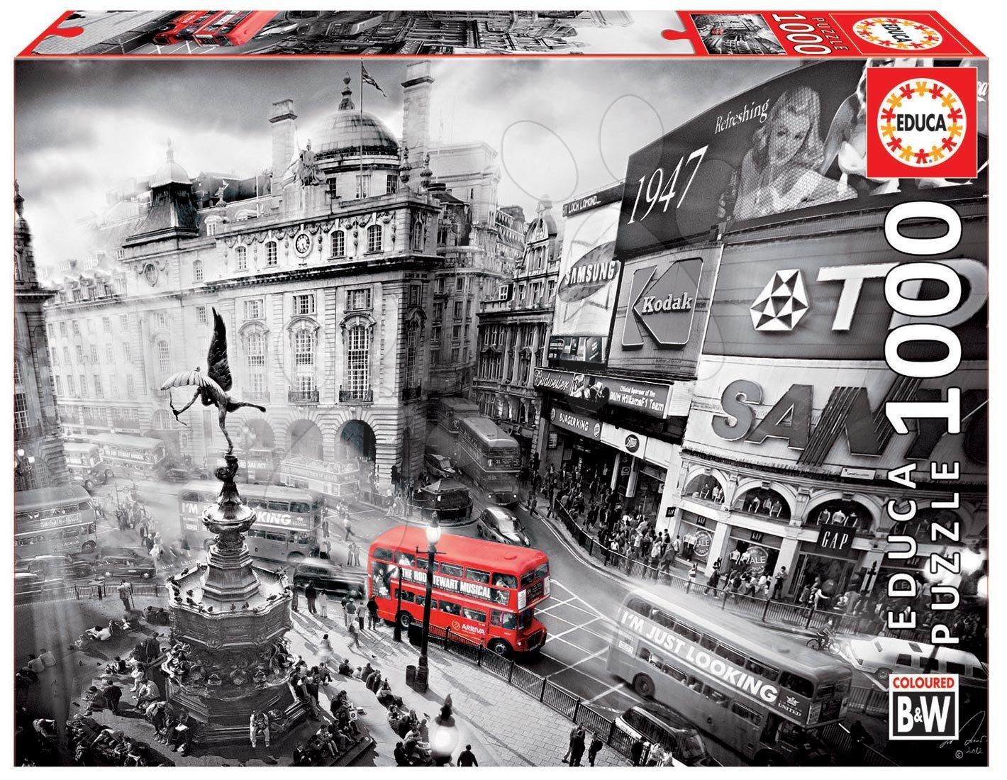 Puzzle 1000 dielne - Puzzle B&W Piccadilly Circus Educa 1000 dielov od 12 rokov