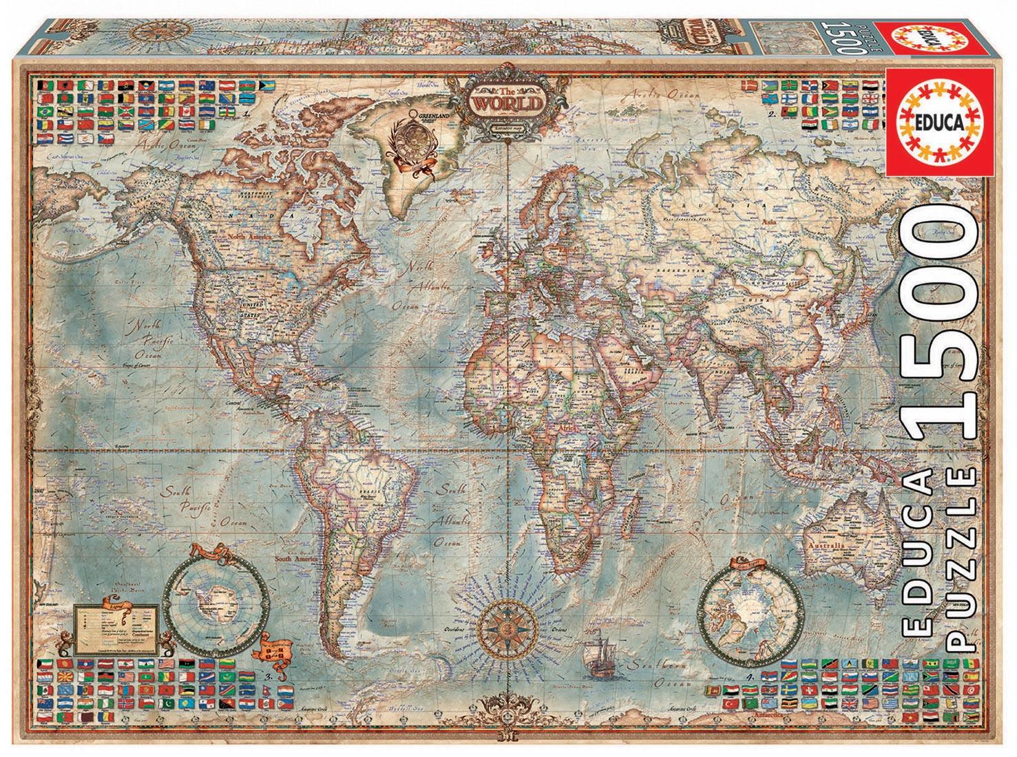 Educa Puzzle Politická mapa sveta 1 500 dielov 16005 farebné