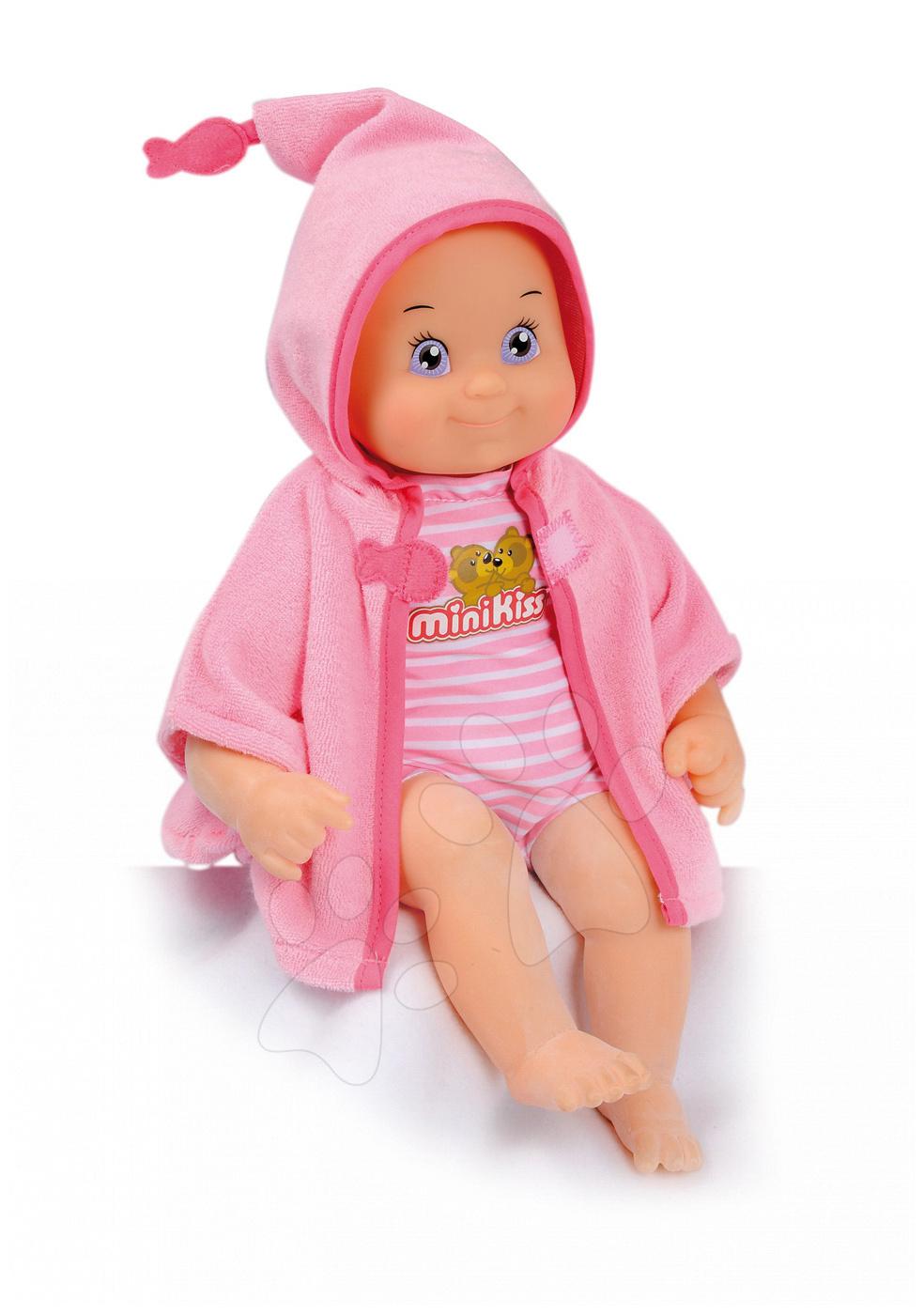 Bábiky od 9 mesiacov - Bábika so zvukmi MiniKiss Smoby na kúpanie 27 cm ružová od 12 mes