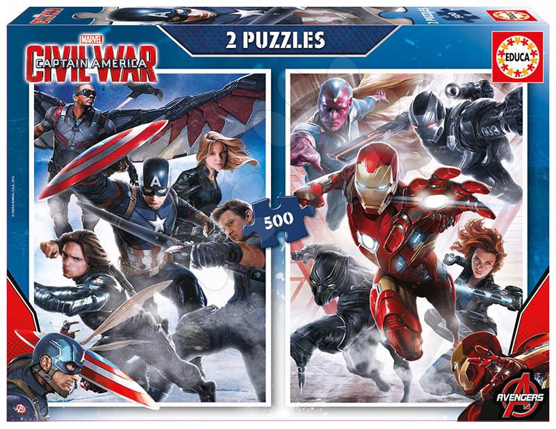 Puzzle 500 dielne - Puzzle Captain America: Občianska vojna Educa 2x 500 dielov od 11 rokov