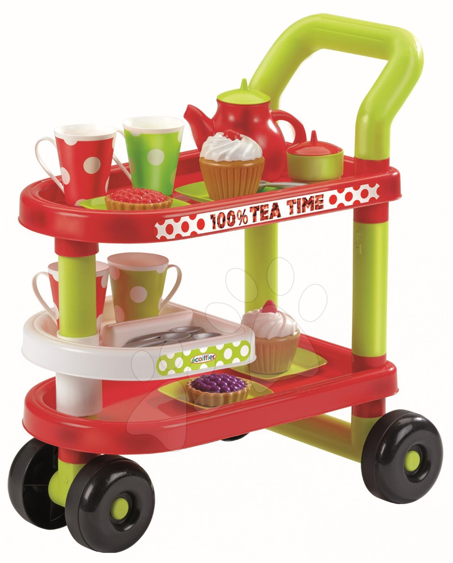 Servírovací vozík 100% Chef Écoiffier s čajovou soupravou s 27 doplňky od 18 měsíců