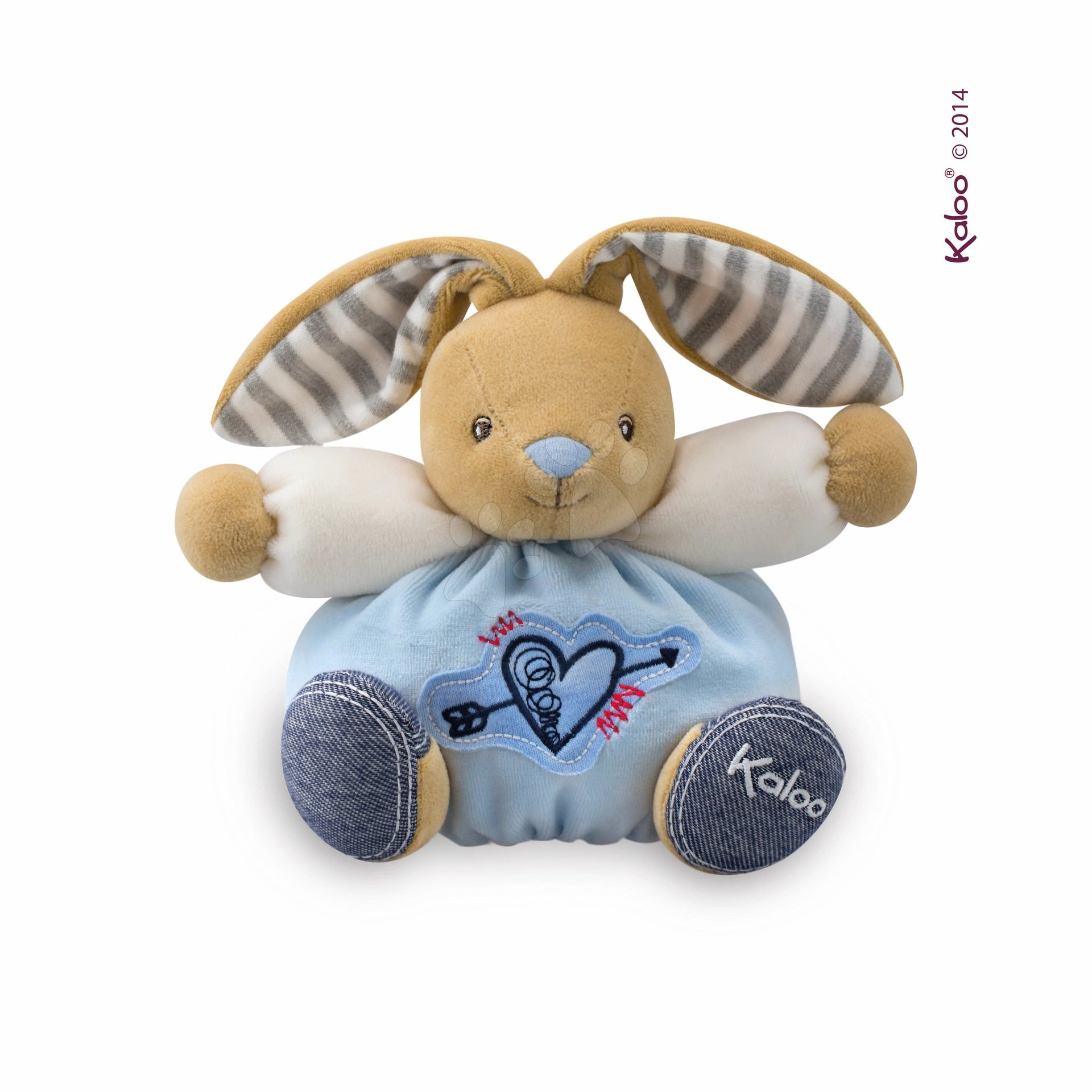 Hračky pre bábätká - Plyšový zajačik Blue Denim - Sweet Heart Kaloo 18 cm v darčekovom balení pre najmenších modrý