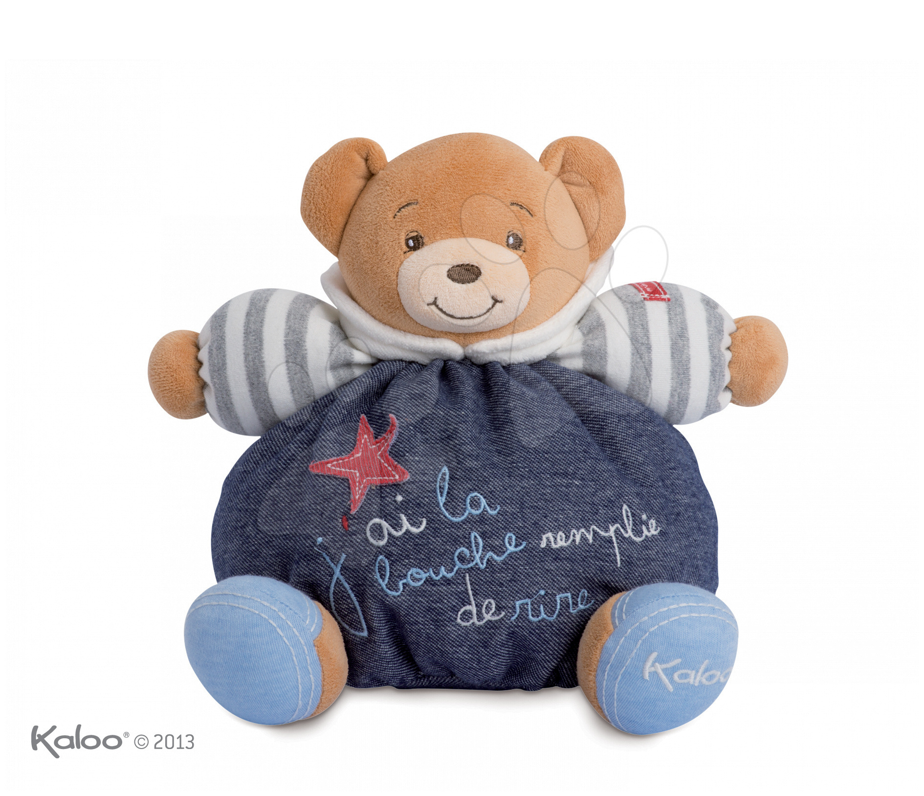 Plyšový medvídek Blue Denim-Happy Chubby Bear Kaloo 25 cm v dárkovém balení pro nejmenší modrý
