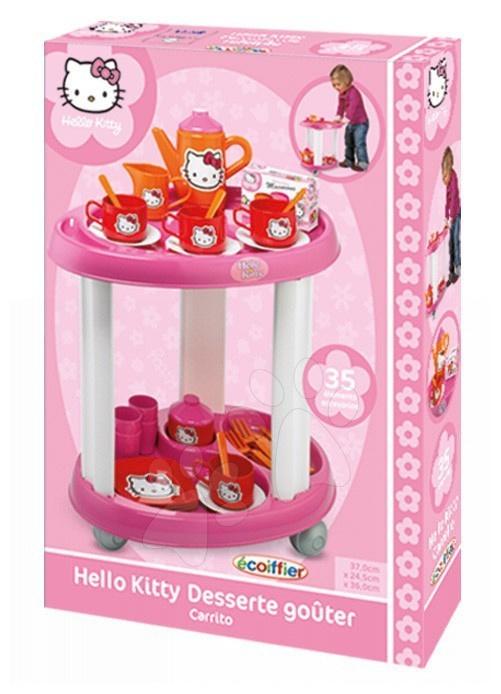 Stolík na servírovanie Hello Kitty Écoiffier s čajovou súpravou s 35 doplnkami od 18 mes