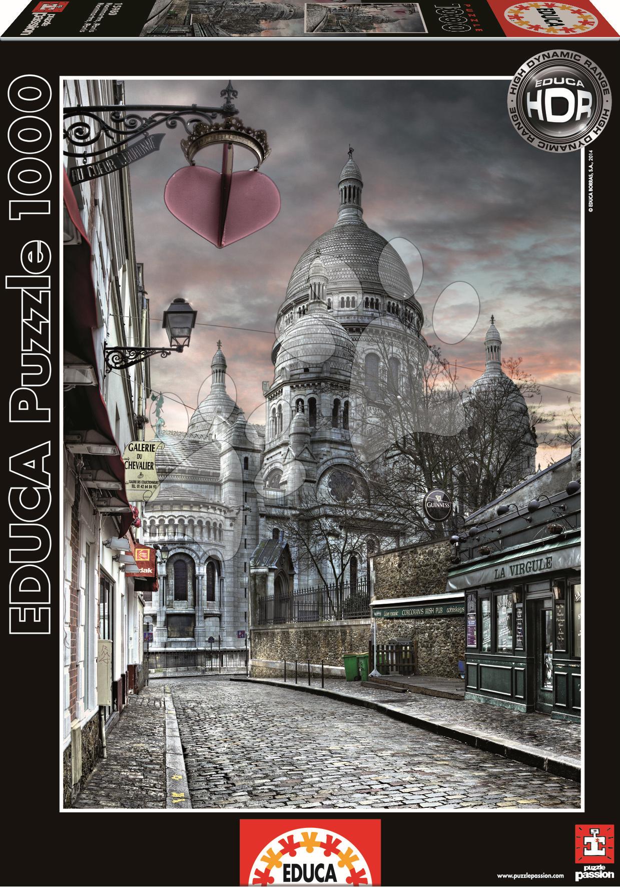 Puzzle 1000 dielne - Puzzle Genuine Montmartre Paris Educa 1000 dielov od 12 rokov