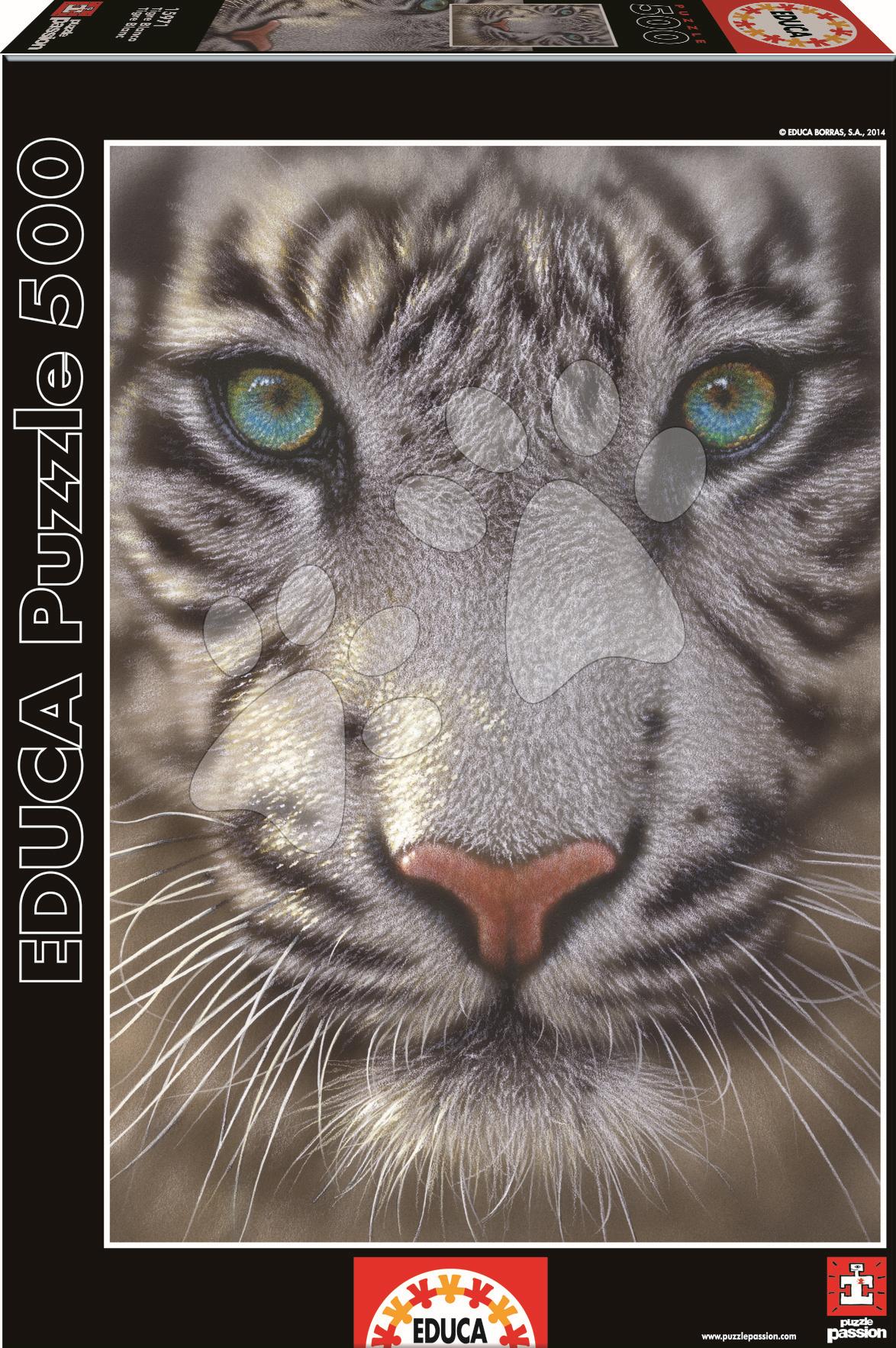Puzzle 500 dielne - Puzzle Genuine Biely tiger Educa 500 dielov od 11 rokov