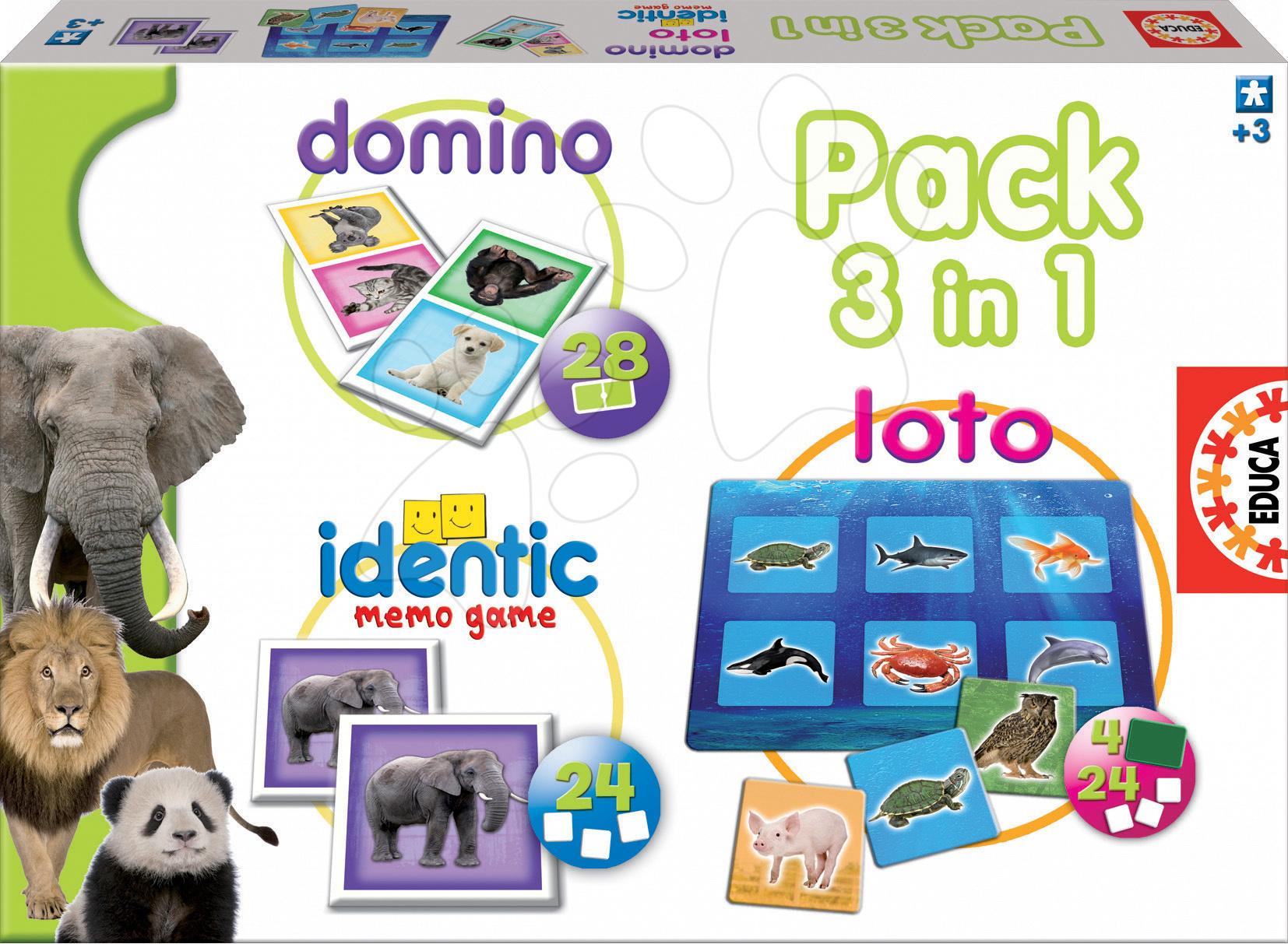 Sada společenských her Special pack Safari 3v1 Educa 28 ks domino, 24 ks loto, 24 ks pexeso