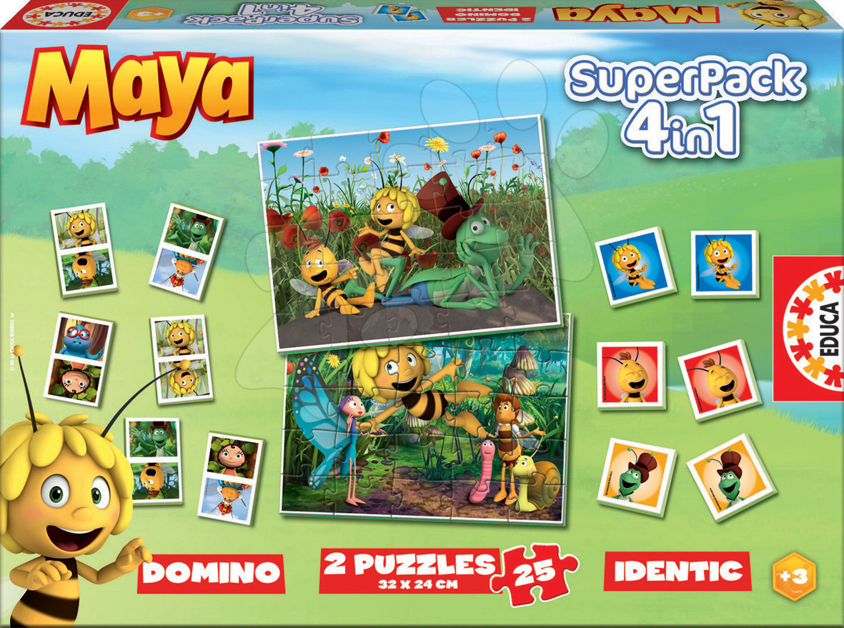 SuperPack Včielka Maja 4v1 Educa 2x puzzle, domino, pexeso