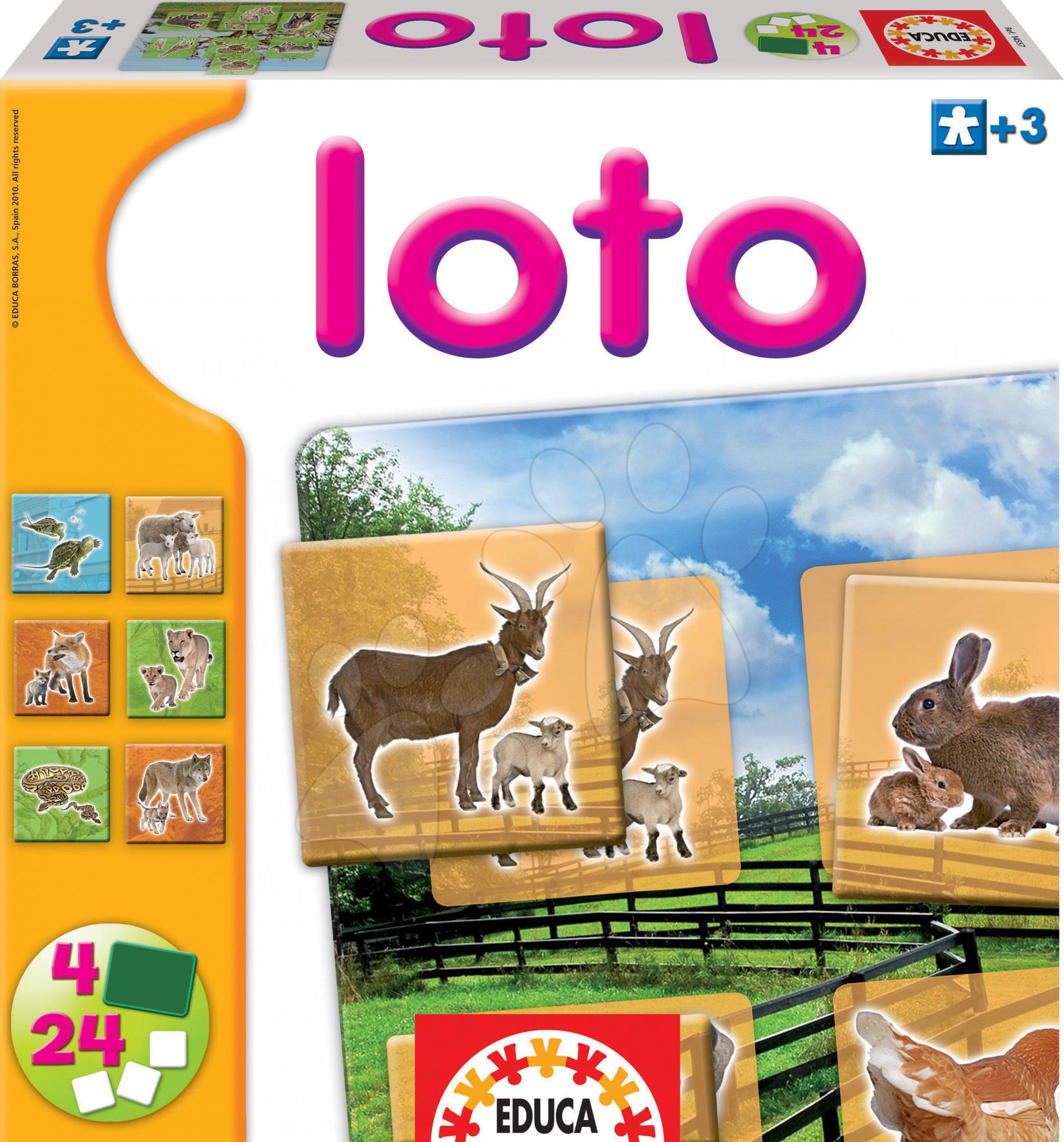 Dominó és Lottó - Játék Lottó Educa 24 db állatkákkal a farmról