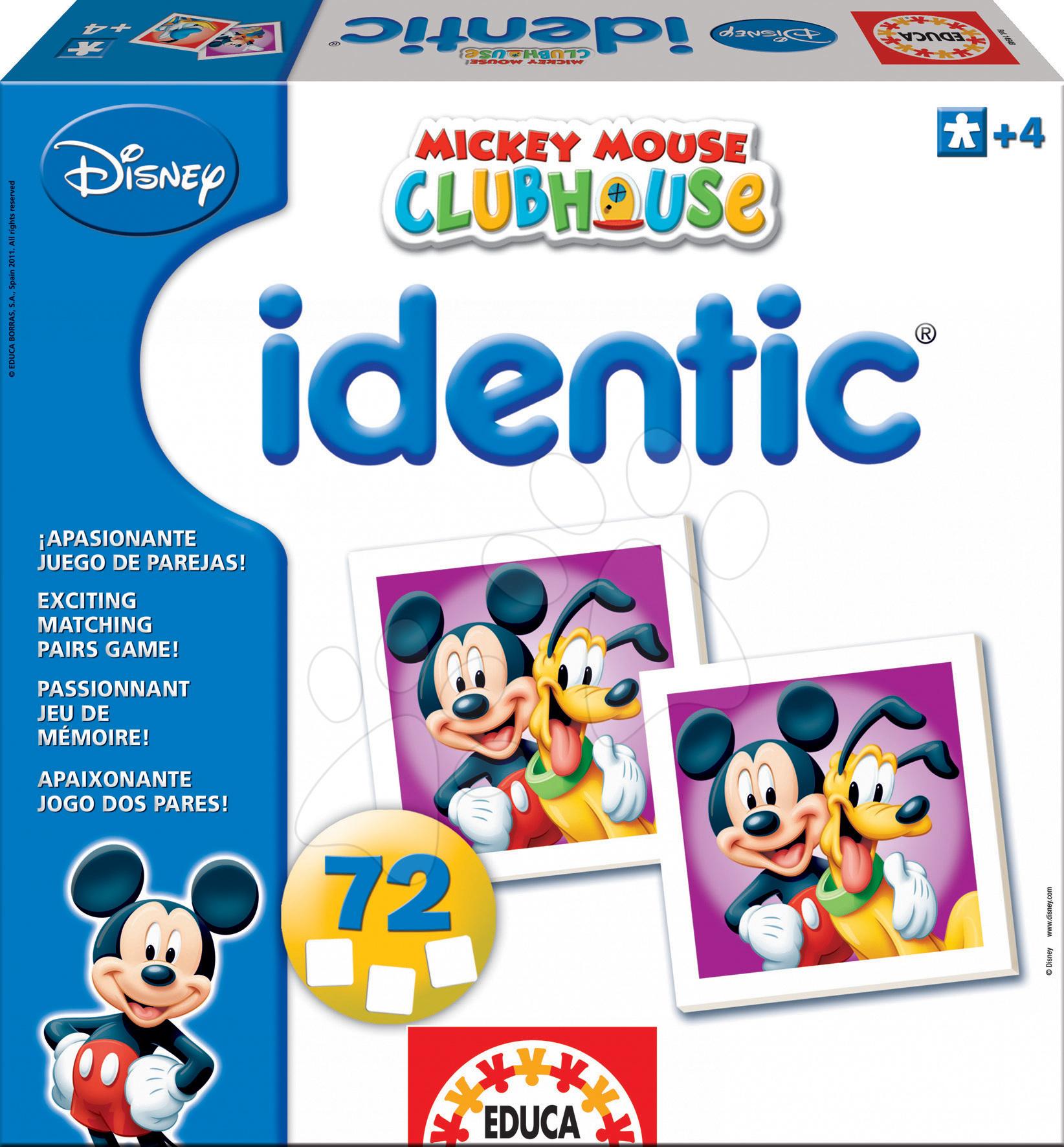 Jucării de memorie - Pexeso Identic Mickey şi prietenii săi Educa 72 de bc de la 4 ani