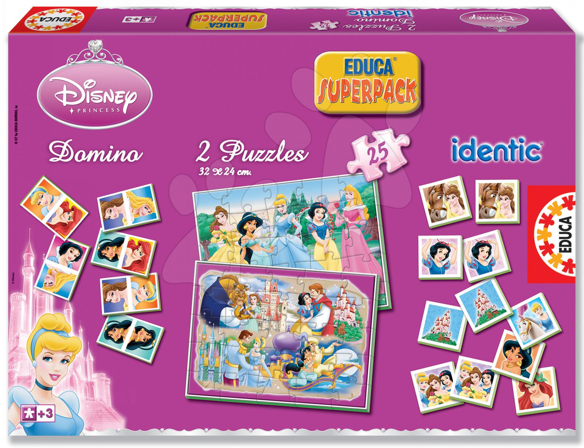 Jucării de memorie - Set joc de societate Prinţese Disney Superpack Educa 2x puzzle, 1x pexeso şi 1x domino