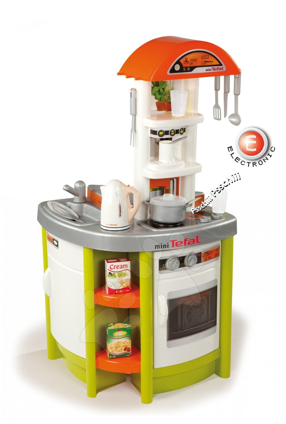 Dětská kuchyňka Tefal Studio Smoby elektronická s rychlovarnou konvicí a 19 doplňky zelená