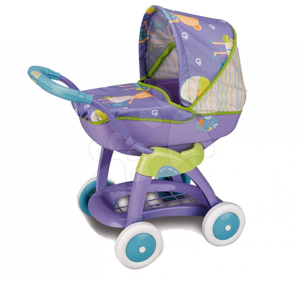 Staré položky - Kočík Chuli pop Car Smoby hlboký fialový s obrázkami od 18 mes