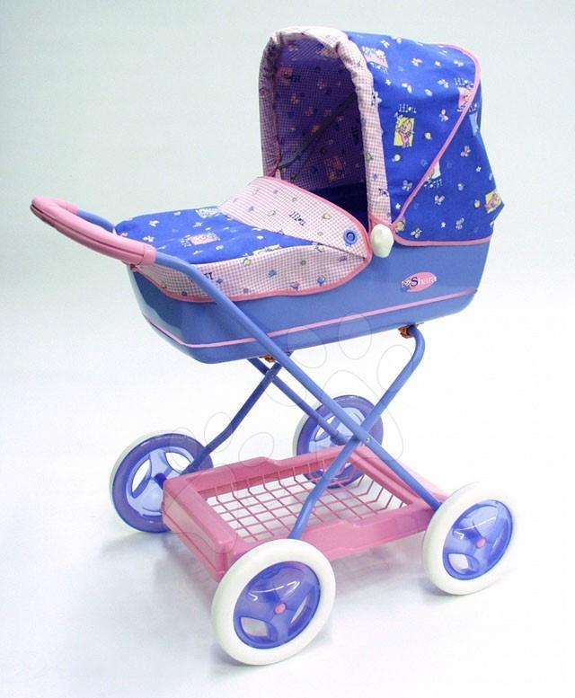 Kočárek hluboký Shara Lilou Smoby modro růžový, výška rukojeti 71 cm
