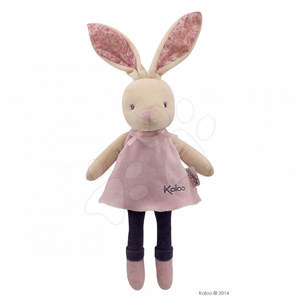 Handrové bábiky - Plyšový zajačik bábika Petite Rose-Musical Doll Kaloo v sukničke spievajúci 30 cm v darčekovom balení pre najmenších