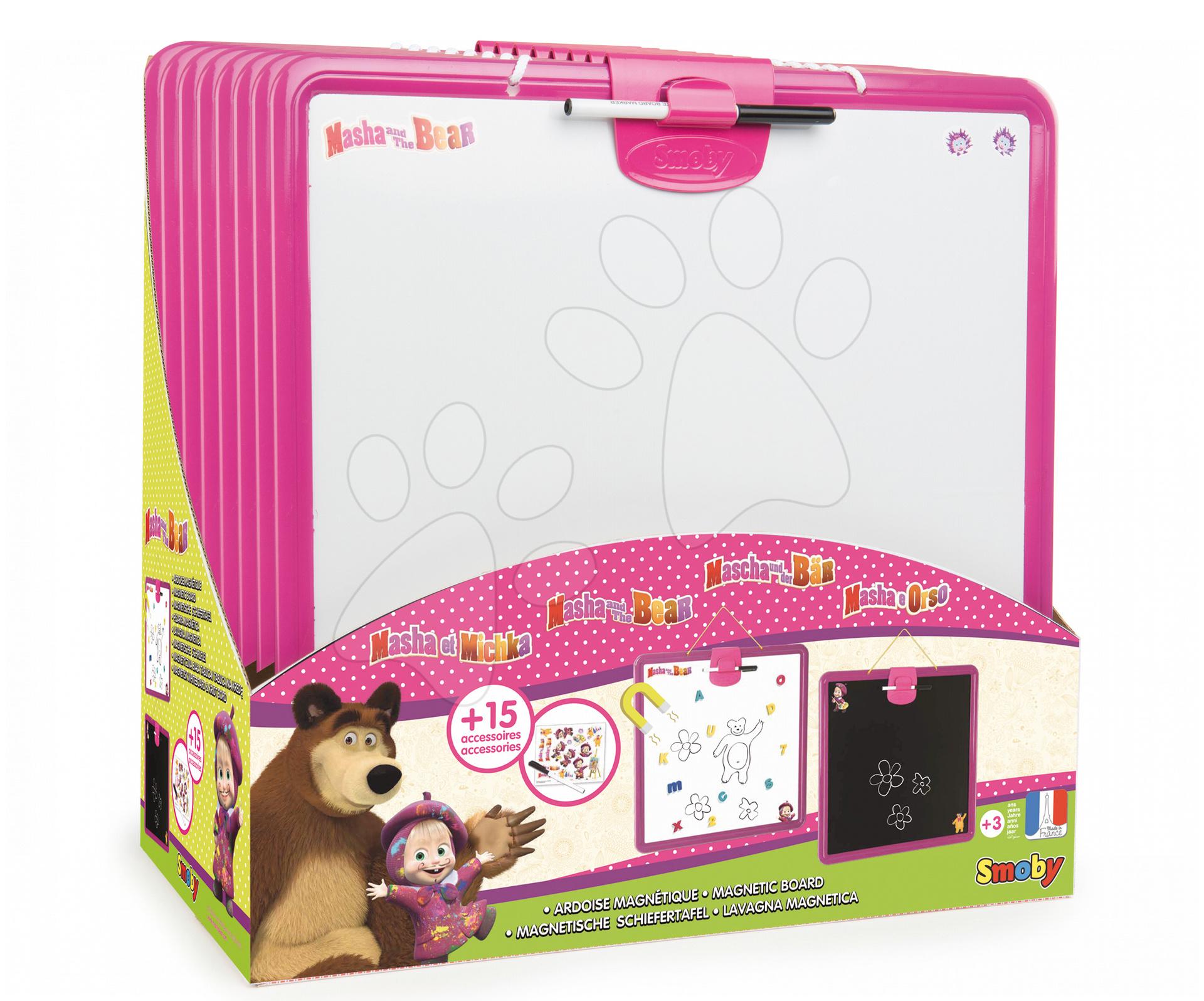 Školní tabule Máša a medvěd Smoby magnetická, oboustranná na zavěšení s perem a 15 doplňky