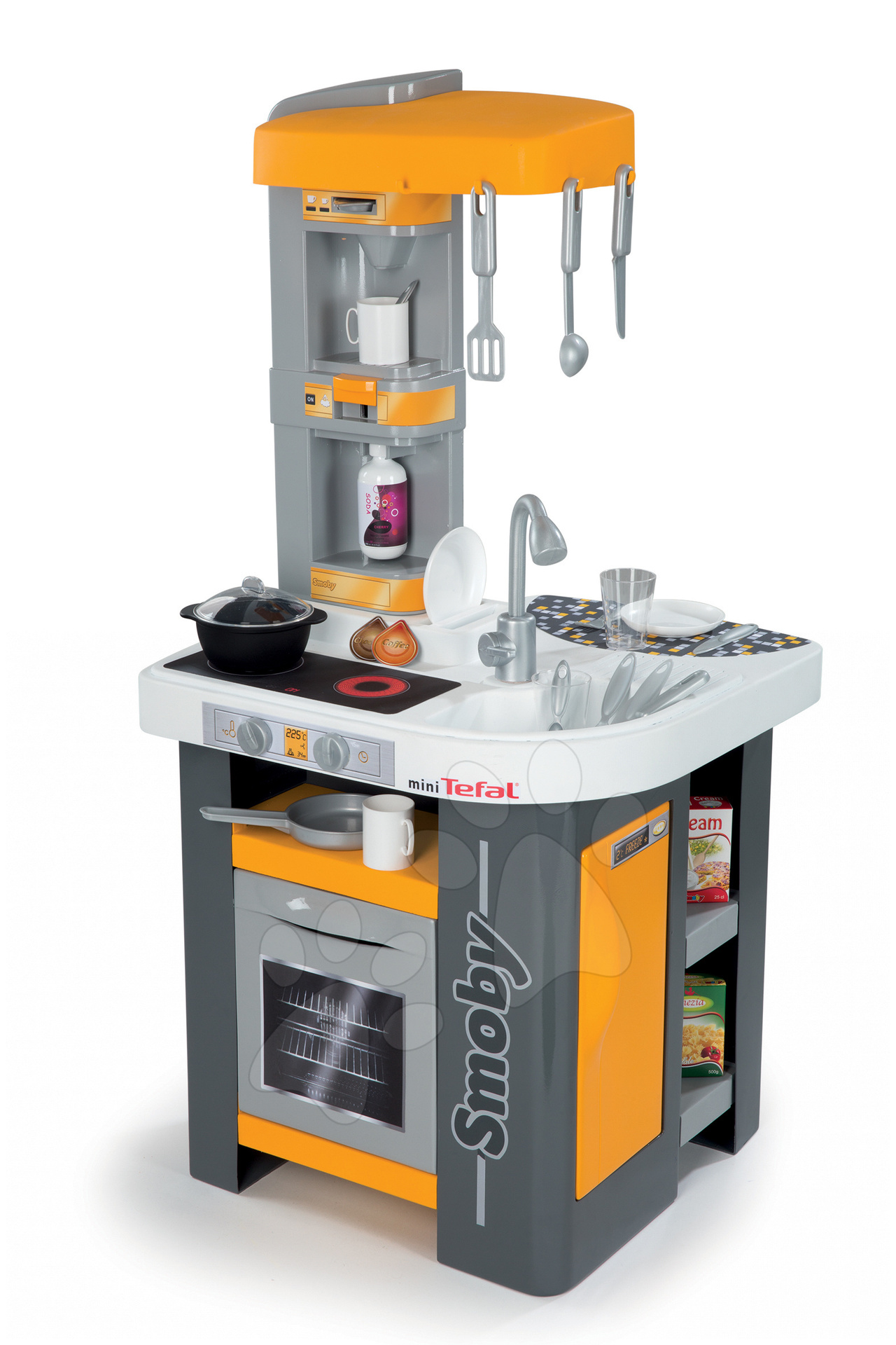 Dětská kuchyňka Studio Tefal Smoby elektronická se zvuky, se sodou a 25 doplňky oranžová