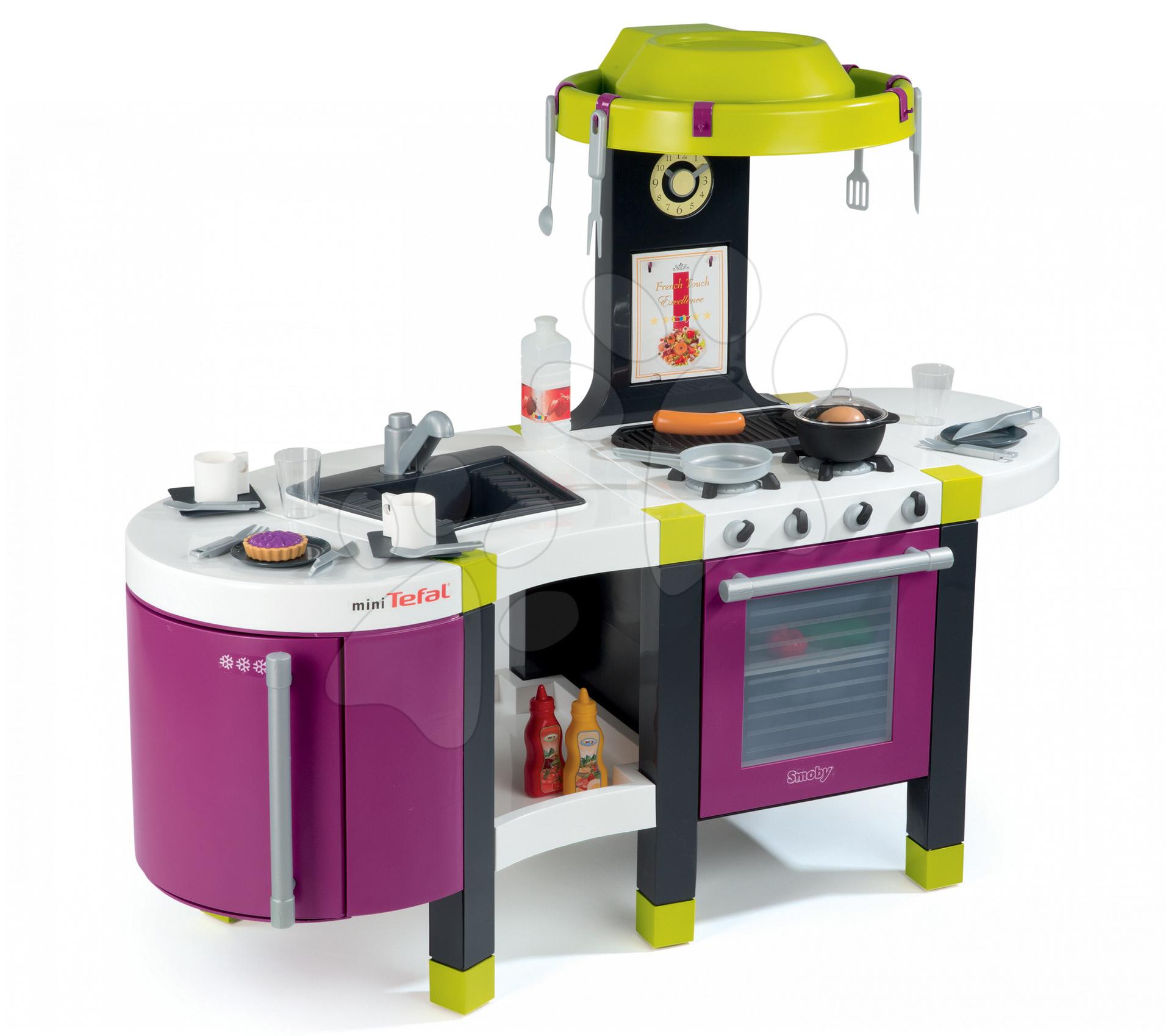 Dětská kuchyňka French Touch Tefal Smoby elektronická se zvuky, s lednicí a 30 doplňky fialová